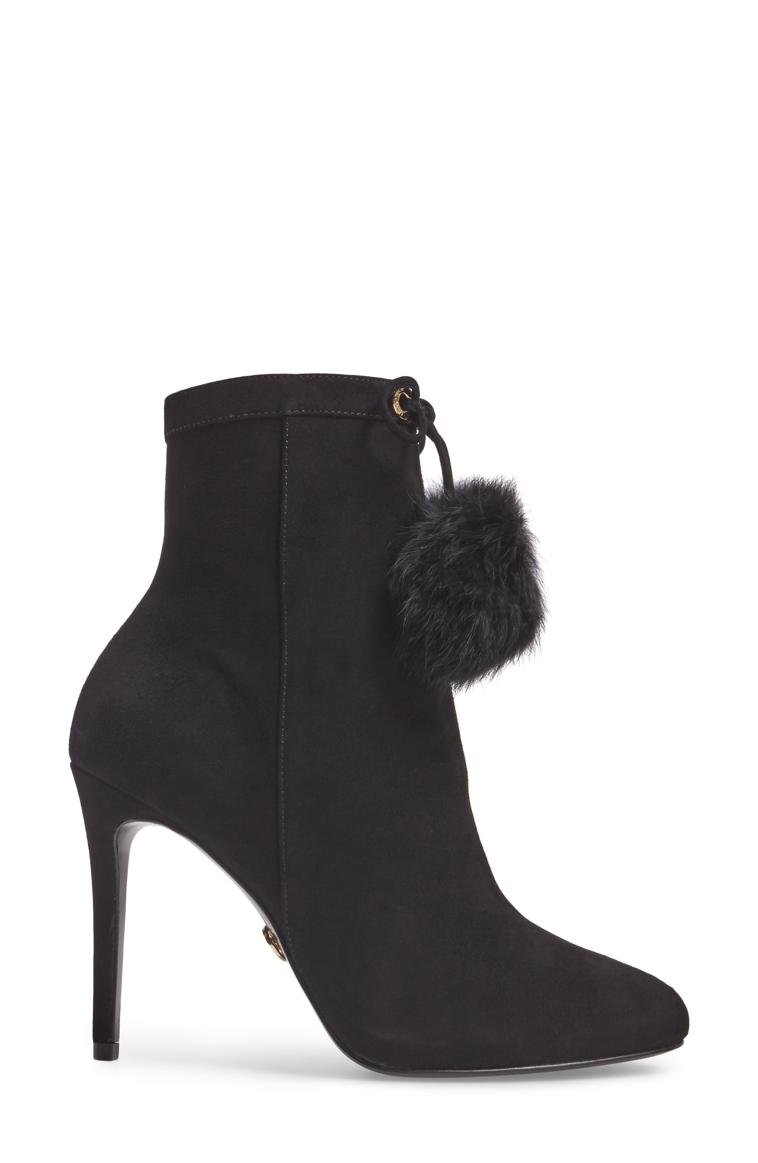 Remi Bootie with Genuine Rabbit Fur Pom,                             Alternate thumbnail 3, color,                             002