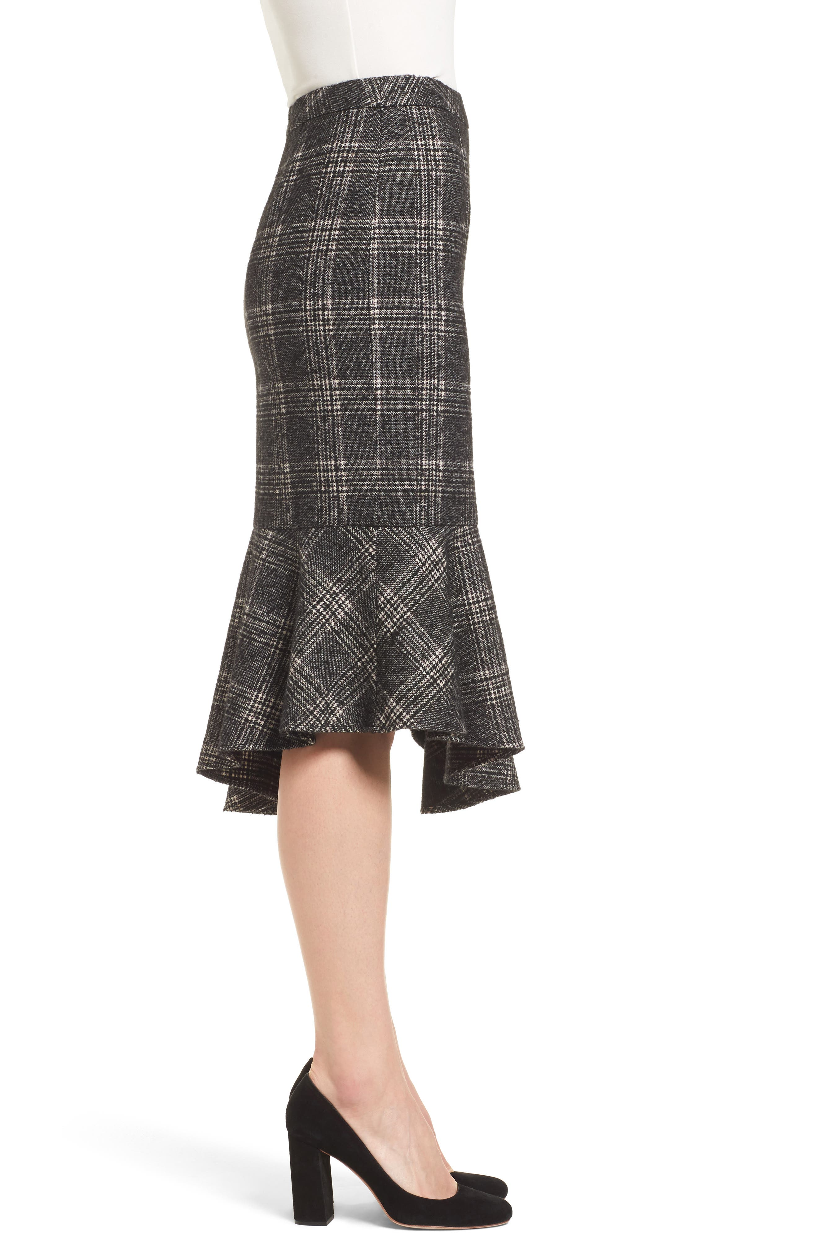 Asymmetrical Ruffle Hem Skirt,                             Alternate thumbnail 3, color,                             001