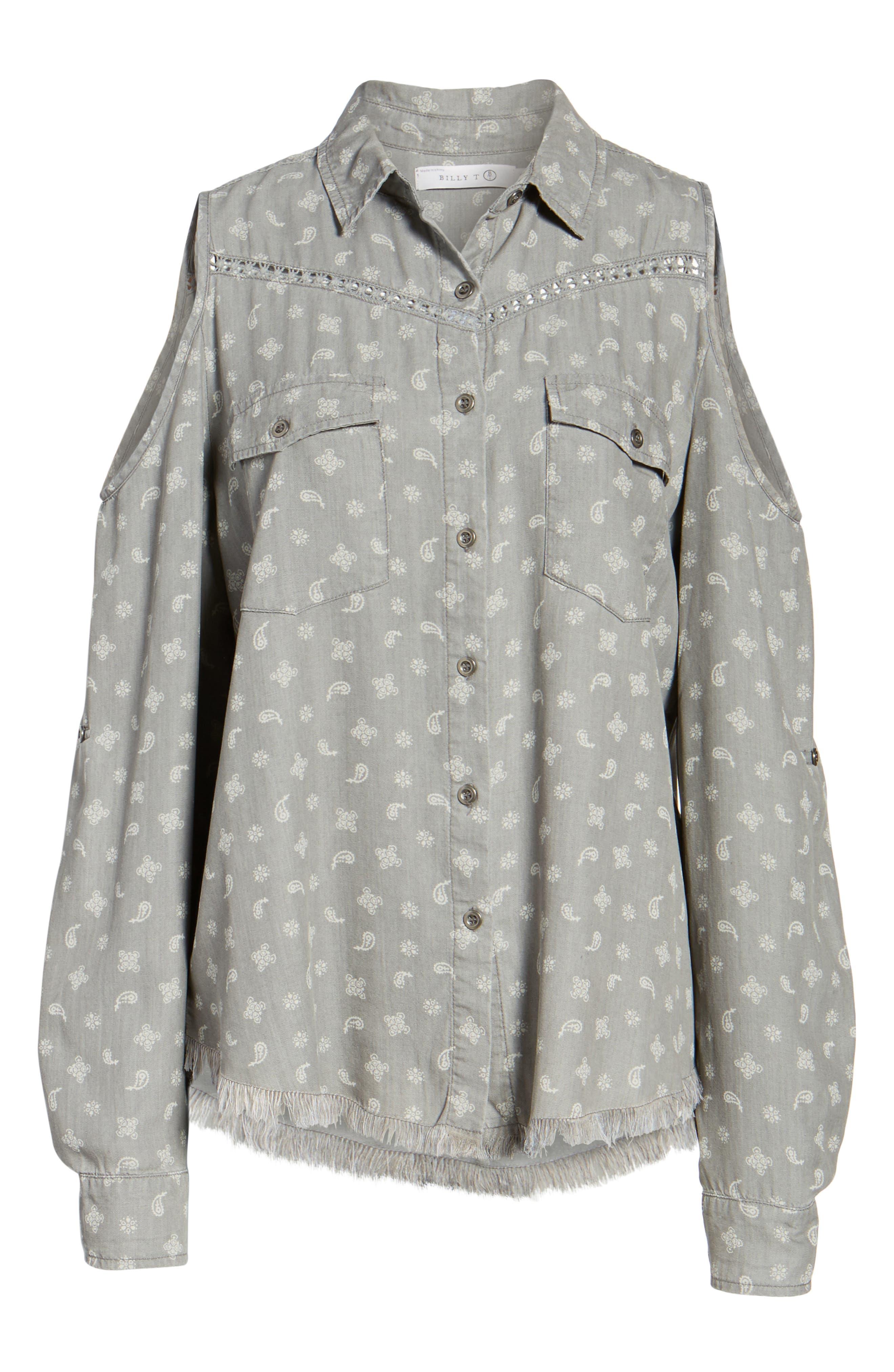 Cold Shoulder Paisley Shirt,                             Alternate thumbnail 6, color,