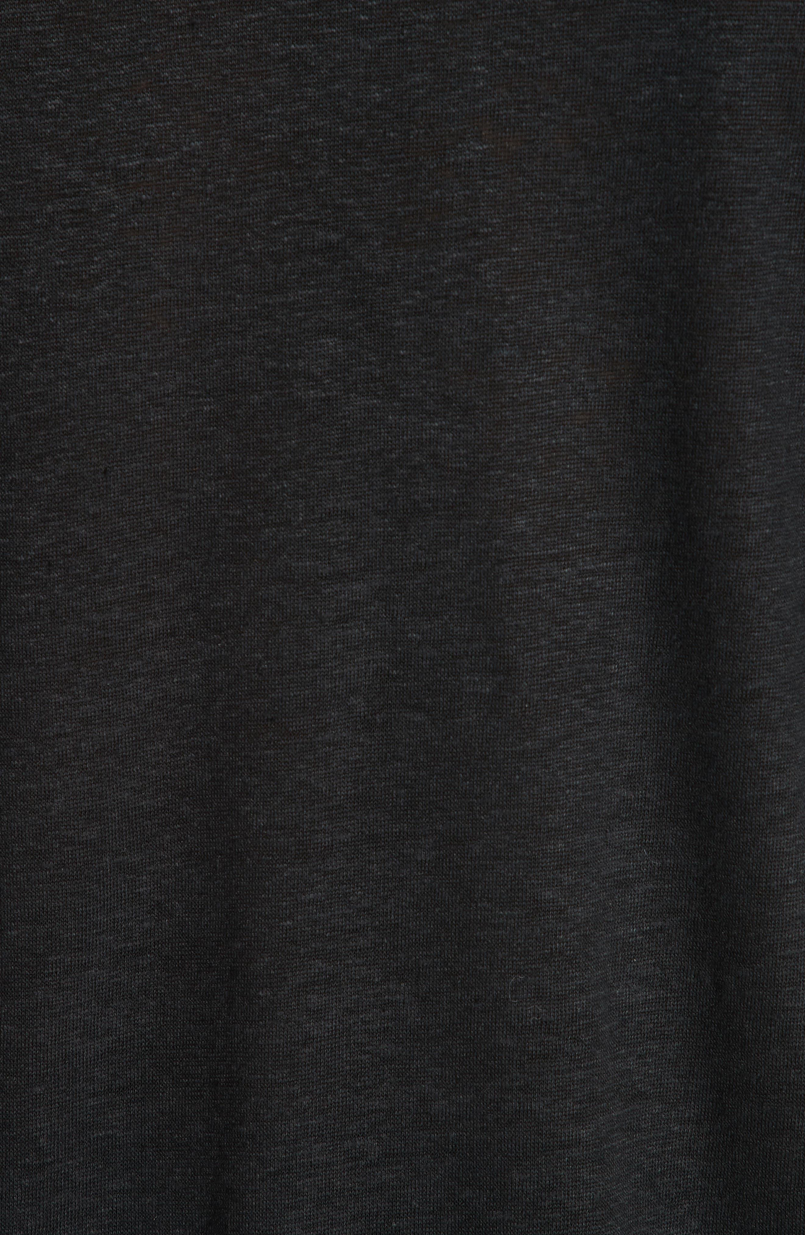 Linen Crewneck T-Shirt,                             Alternate thumbnail 5, color,                             BLACK