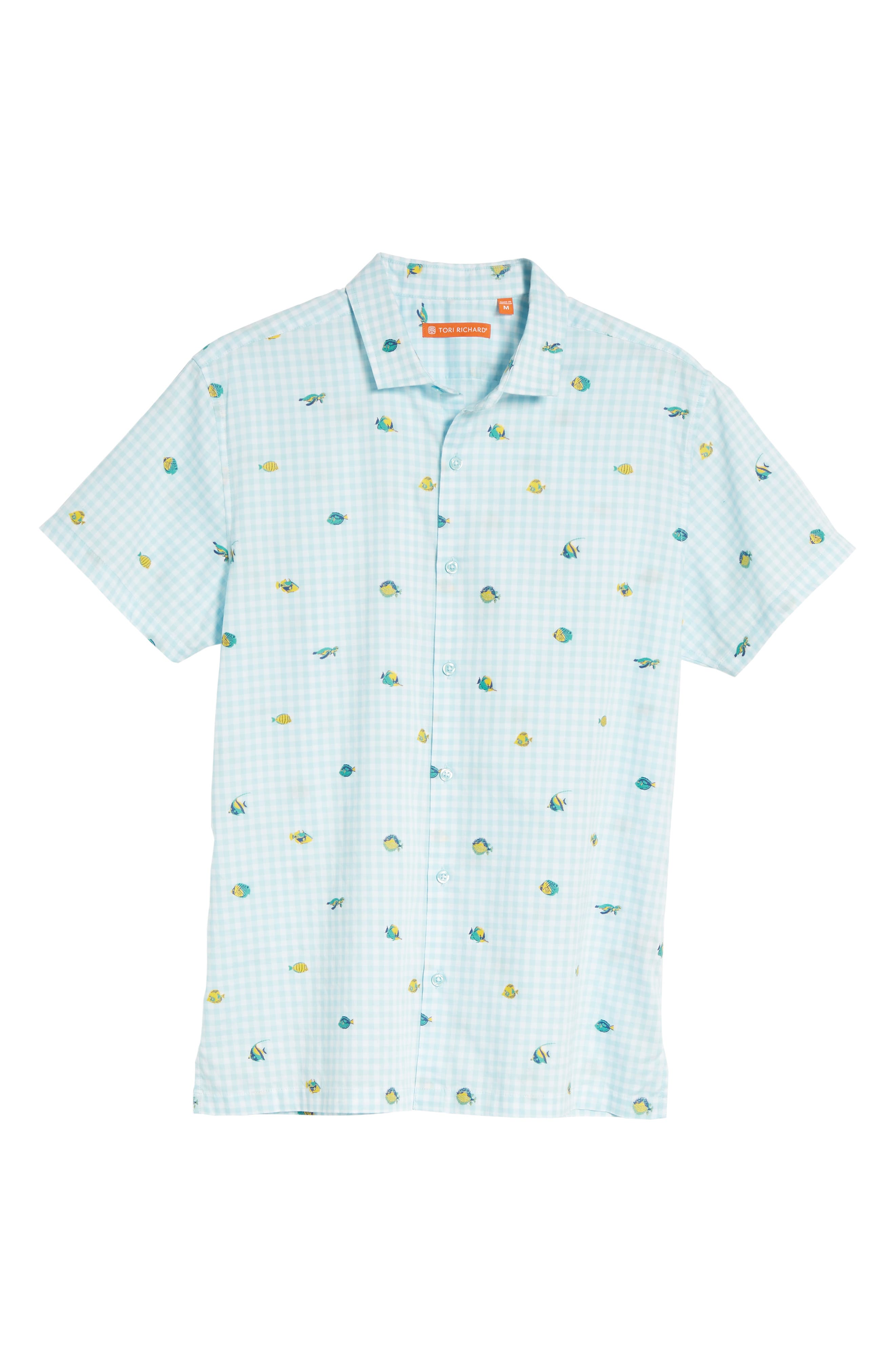 Picnic Reef Trim Fit Embroidered Camp Shirt,                             Alternate thumbnail 6, color,                             SKY BLUE