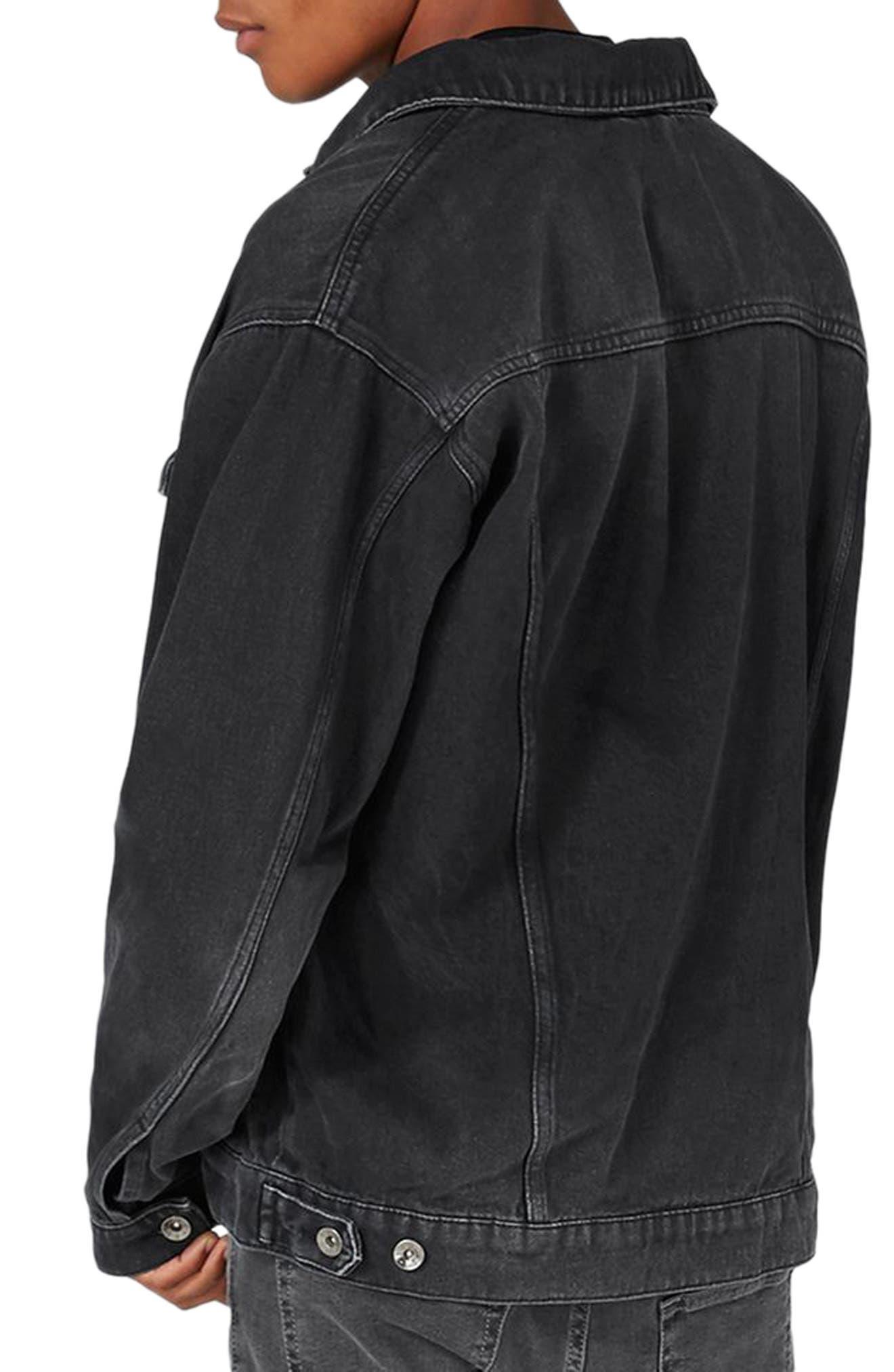 Oversize Black Denim Jacket,                             Alternate thumbnail 2, color,                             001
