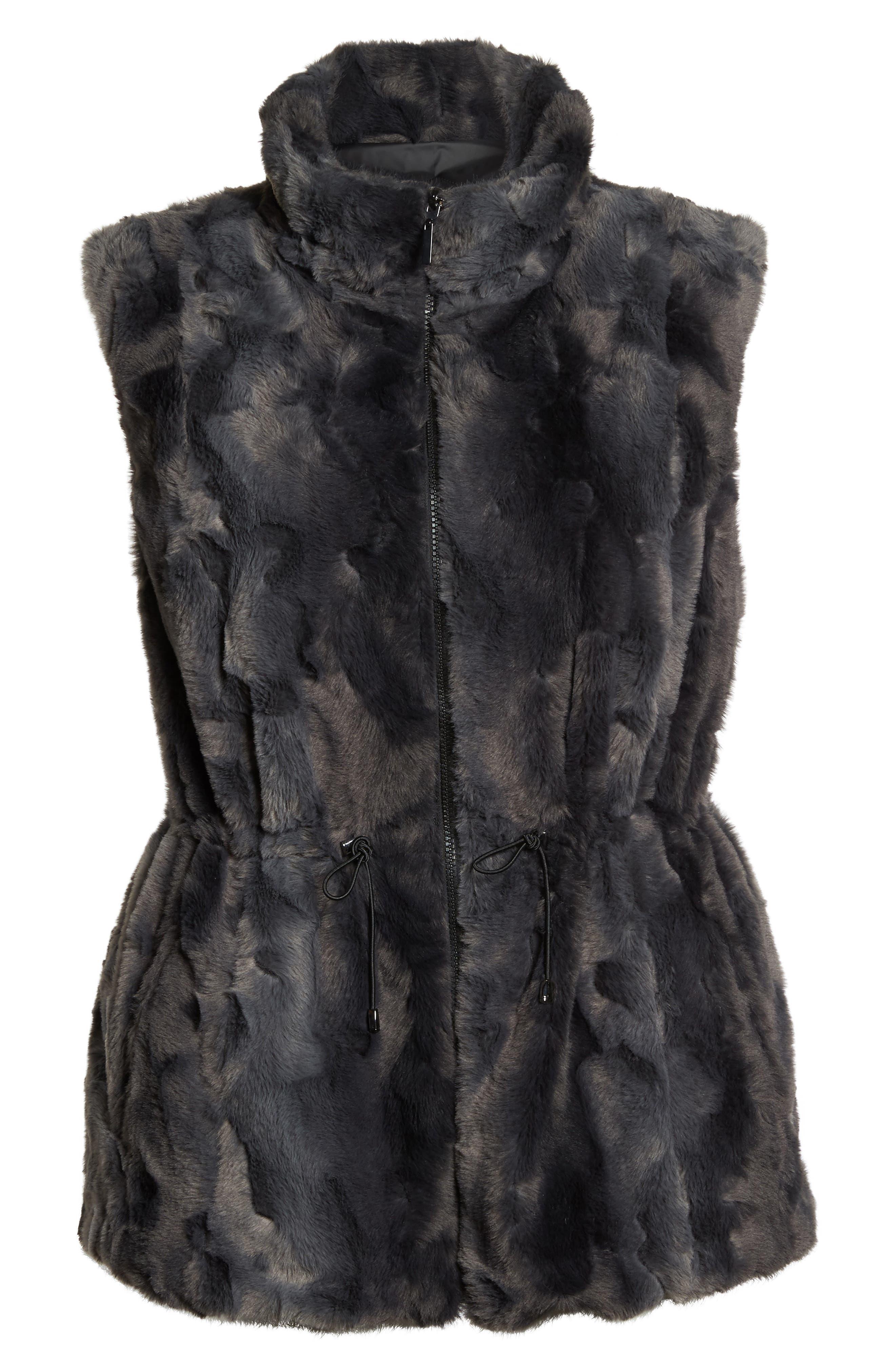 Reversible Faux Fur Vest,                             Alternate thumbnail 5, color,                             001