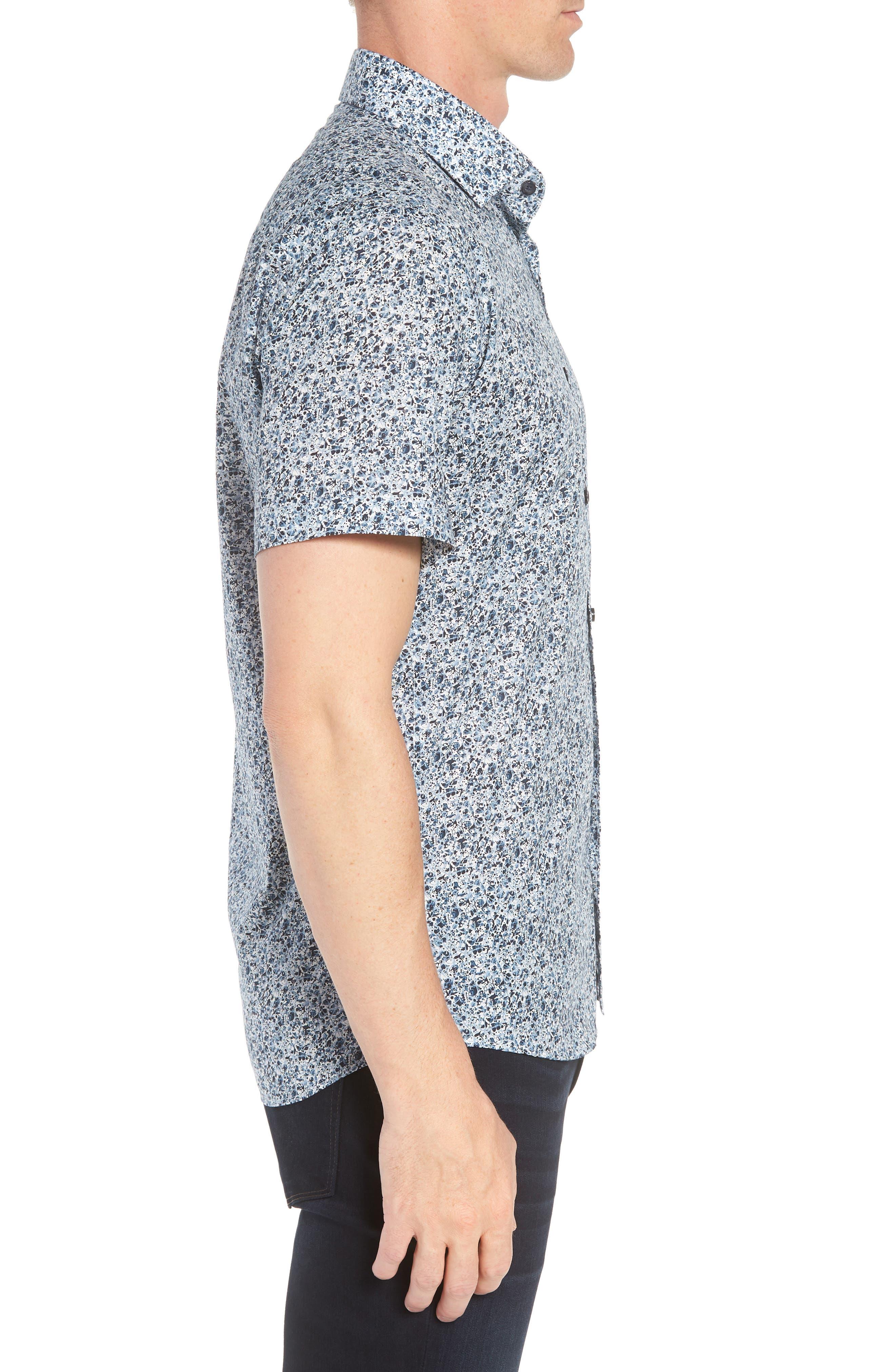 Speckle Print Sport Shirt,                             Alternate thumbnail 3, color,                             BLUE SPECKLE