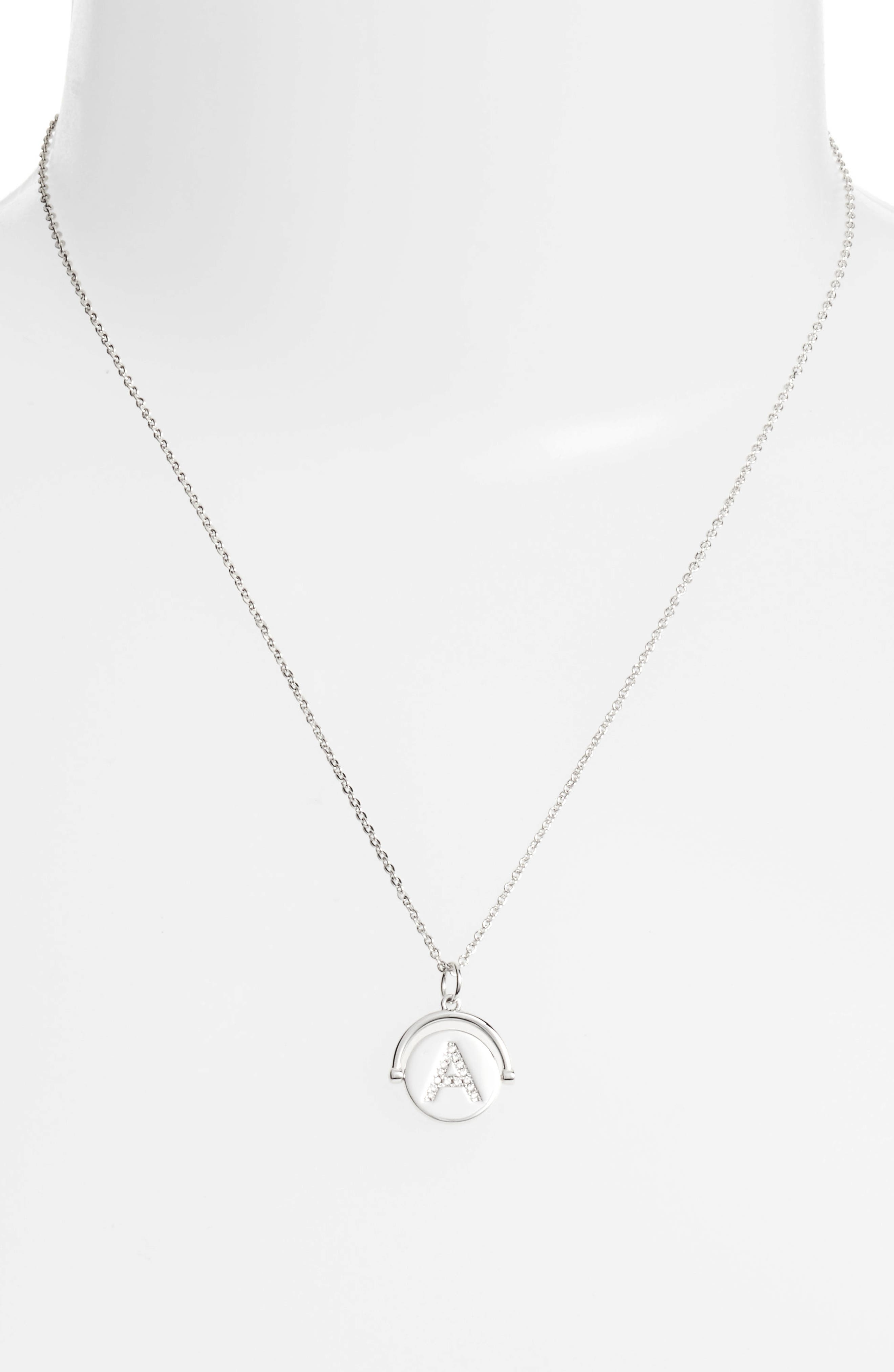 Love Letters Initial Spinning Pendant Necklace,                             Alternate thumbnail 2, color,                             040
