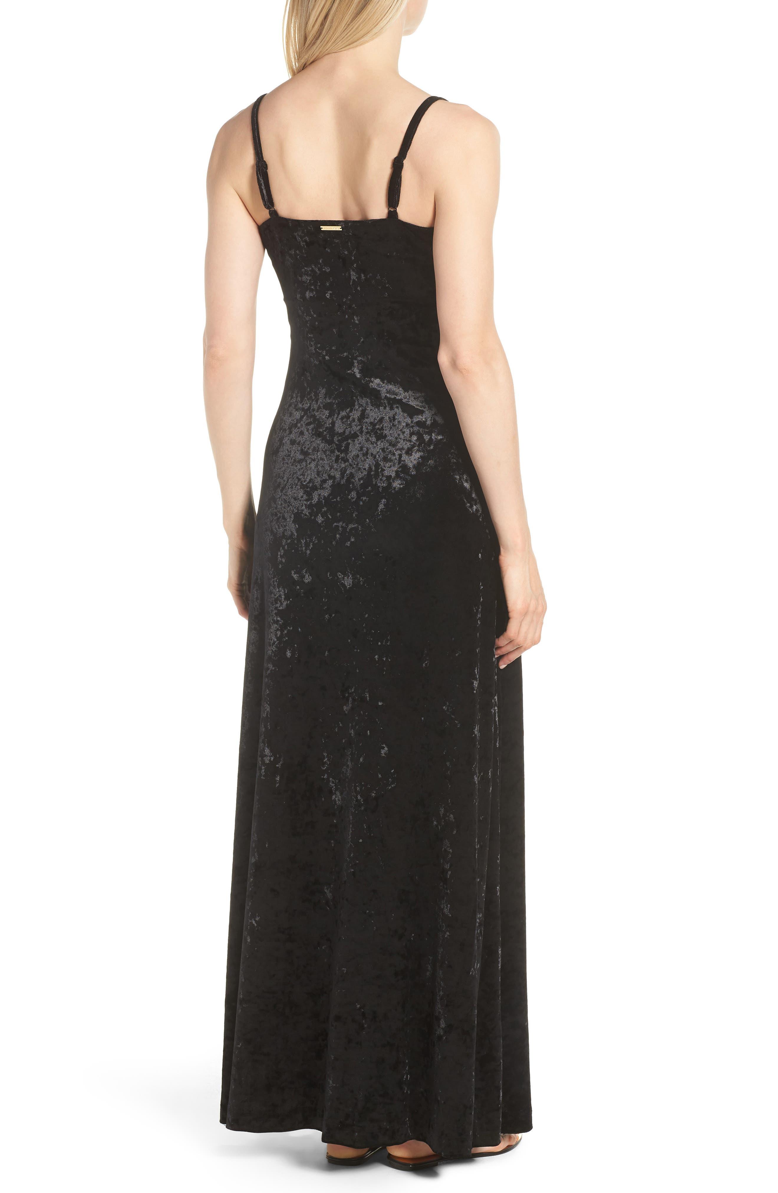 Crushed Velvet Maxi Dress,                             Alternate thumbnail 2, color,                             001