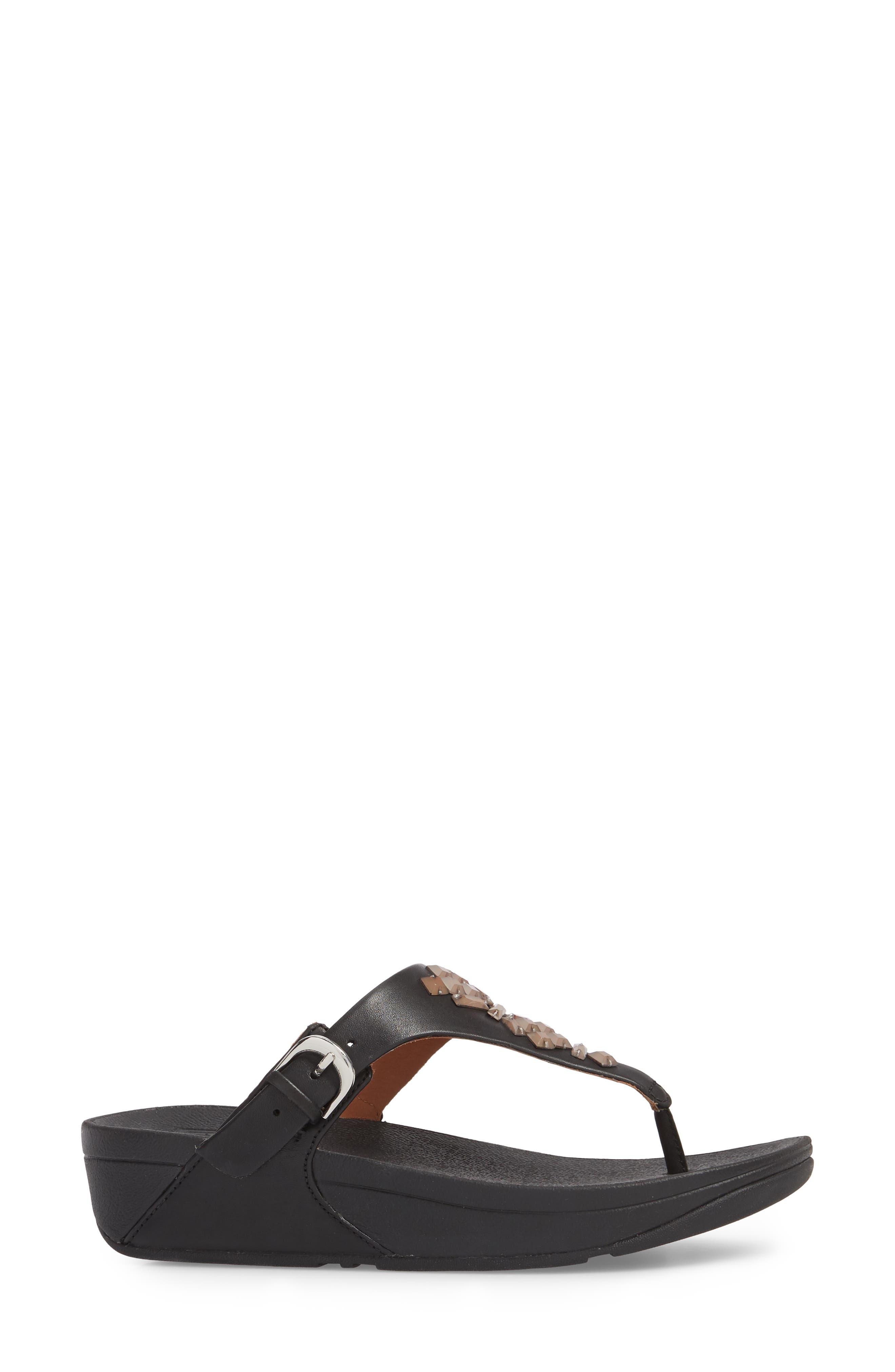The Skinny Embellished V-Strap Thong Sandal,                             Alternate thumbnail 3, color,                             001