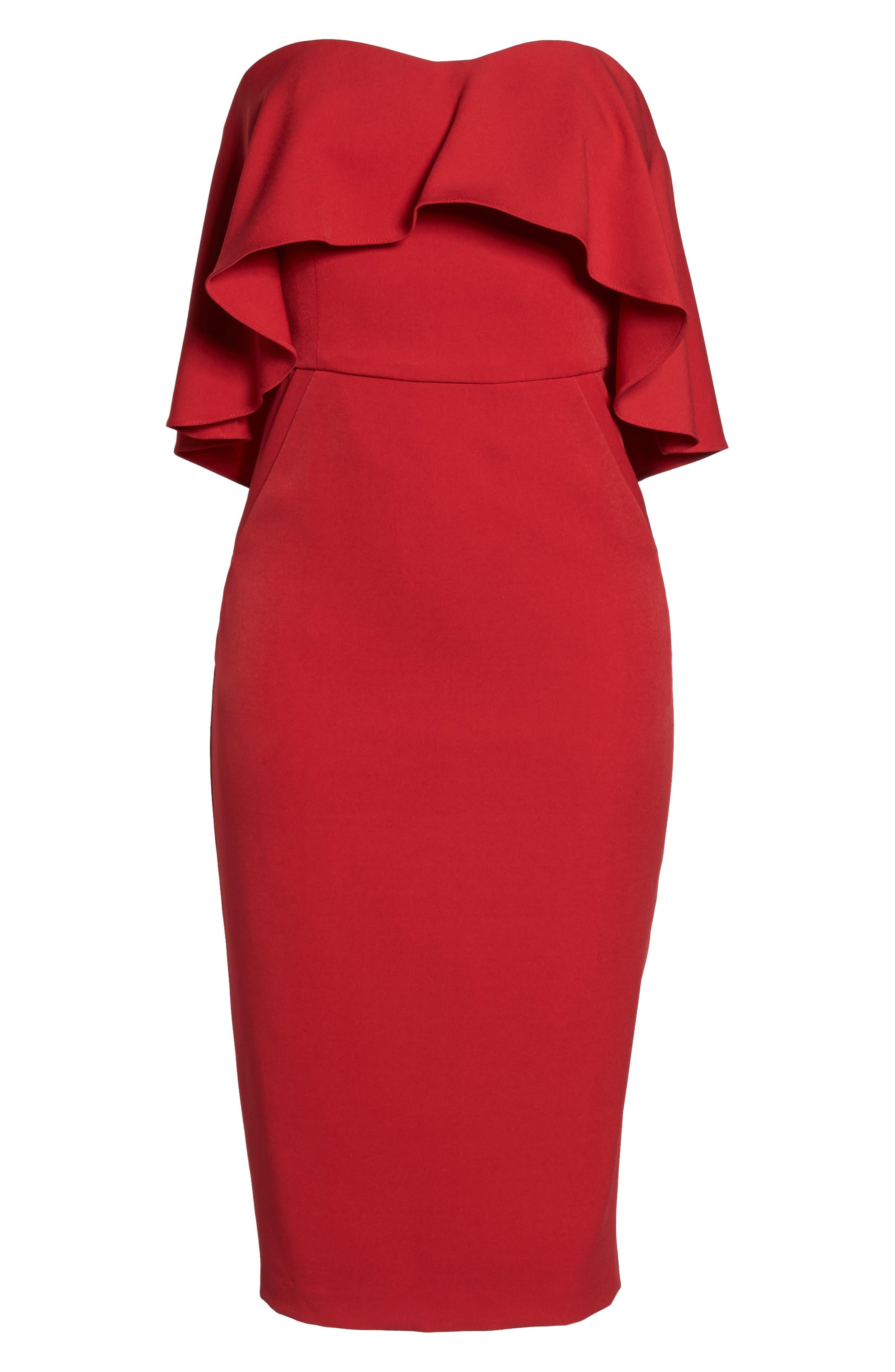 Ruffle Stretch Crepe Sheath Dress,                             Alternate thumbnail 34, color,