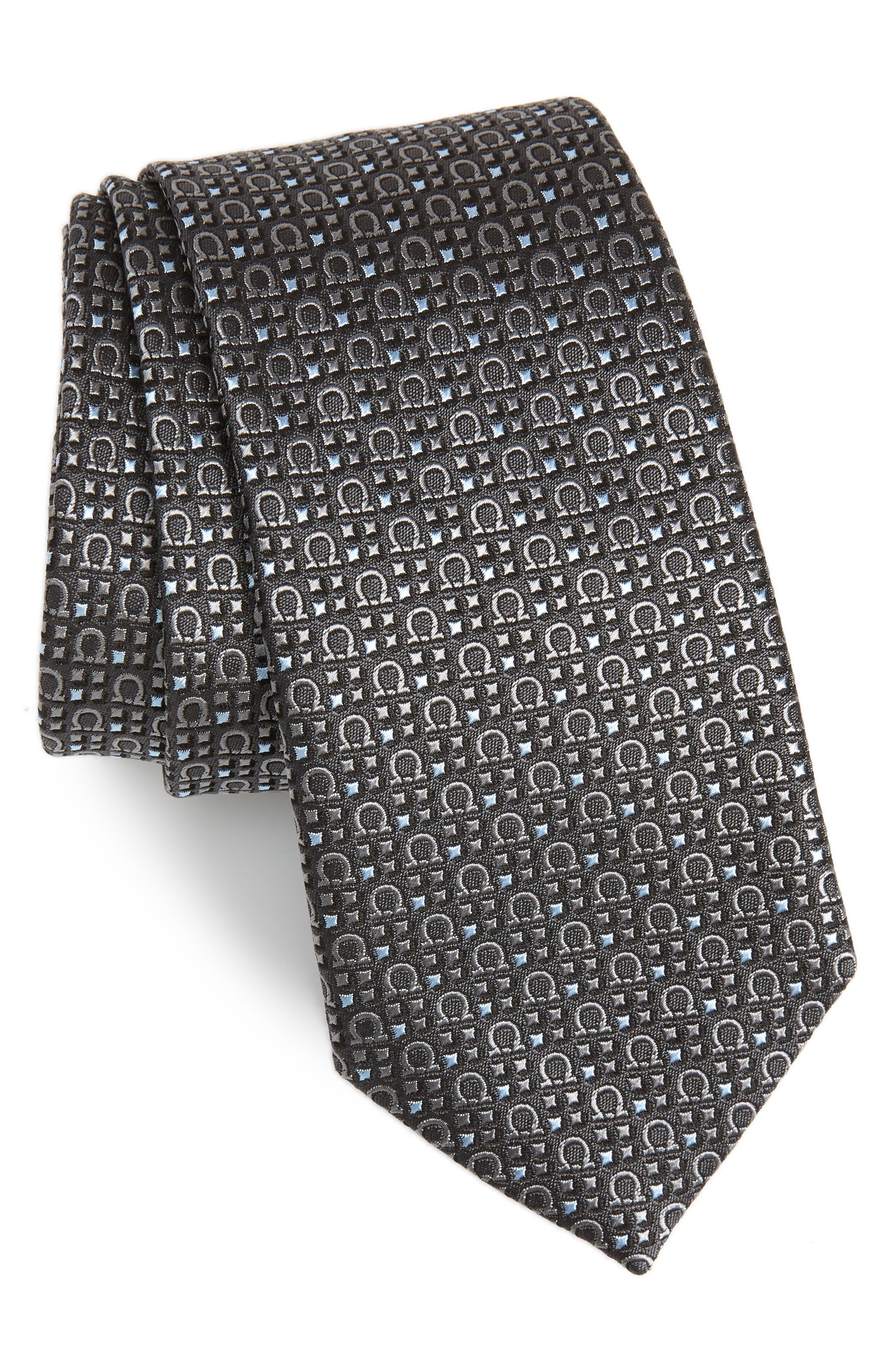 Geometric Print Silk Tie,                         Main,                         color, 025