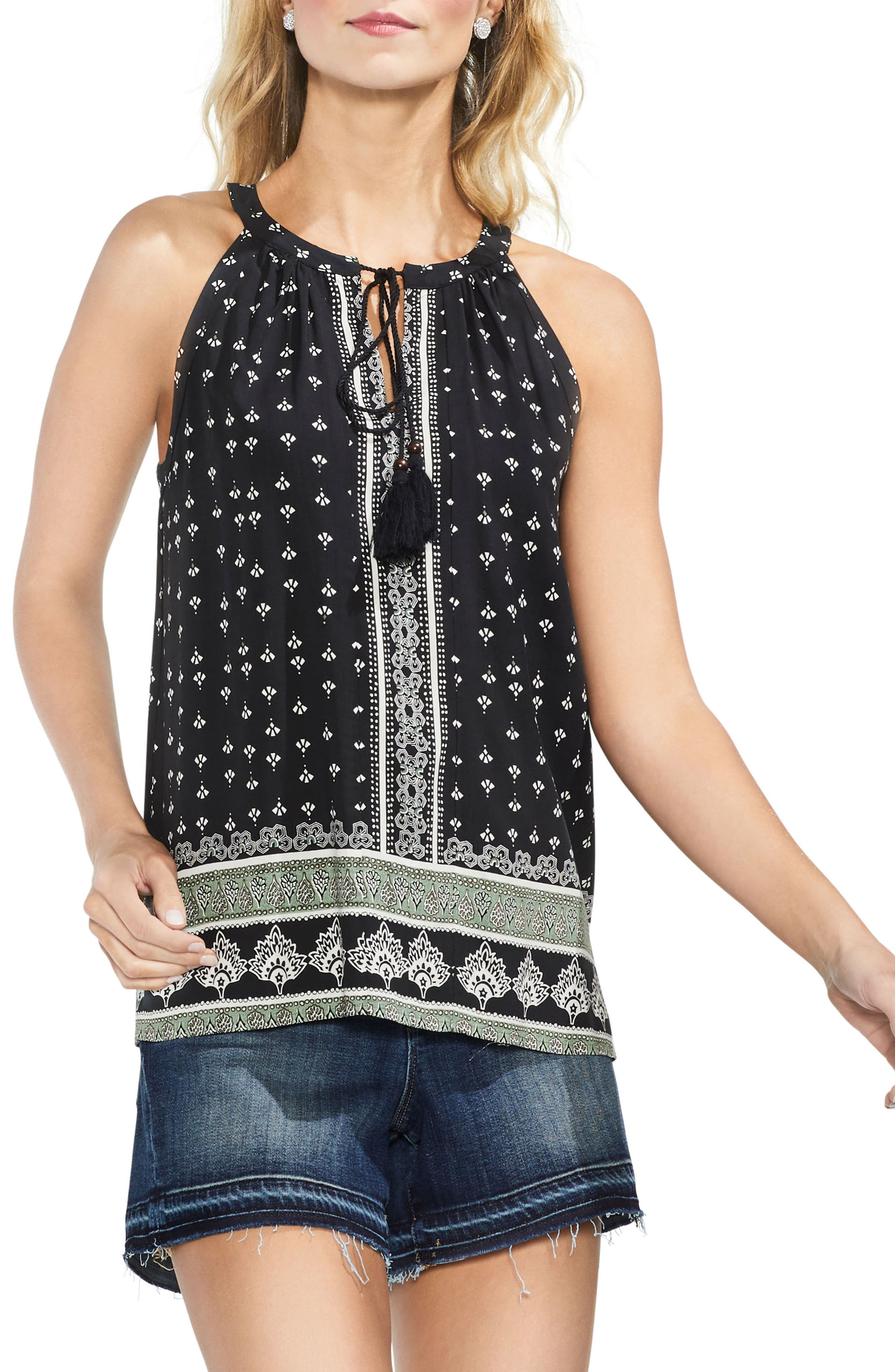 VINCE CAMUTO,                             Halter Style Print Top,                             Main thumbnail 1, color,                             001