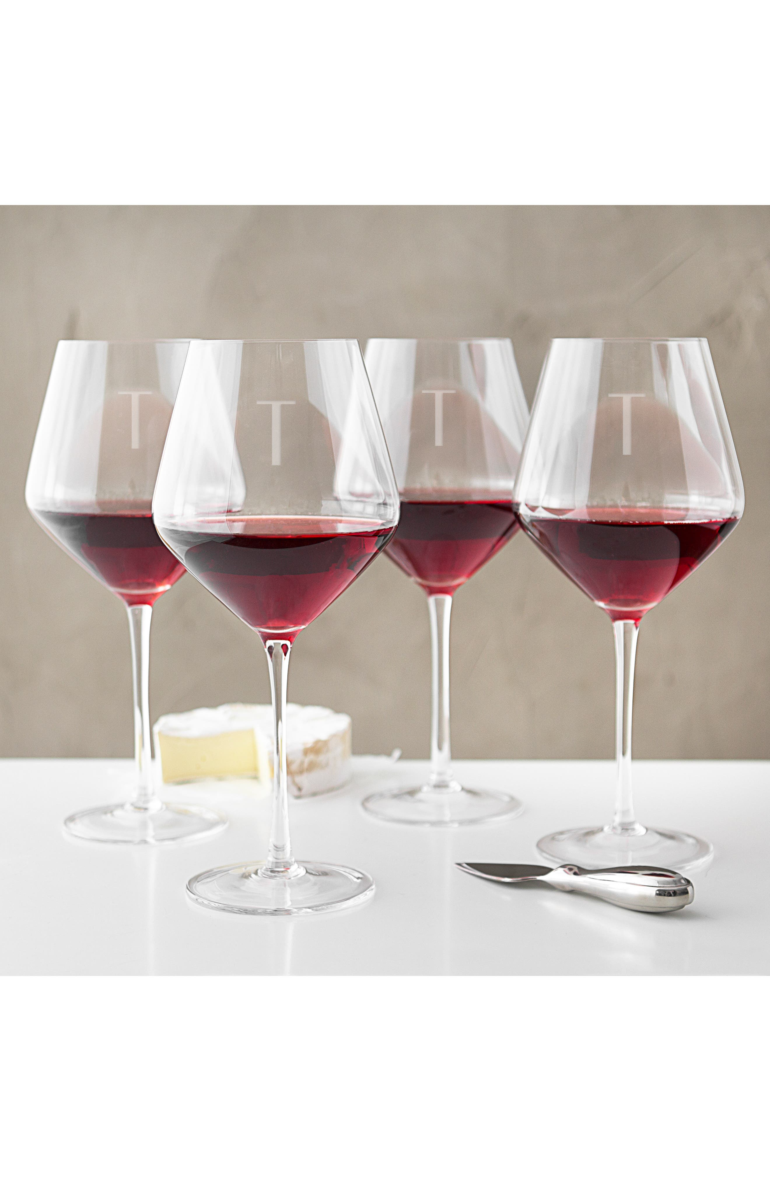 Estate Collection Set of 4 Monogram Red Wine Glasses,                             Alternate thumbnail 3, color,                             BLANK