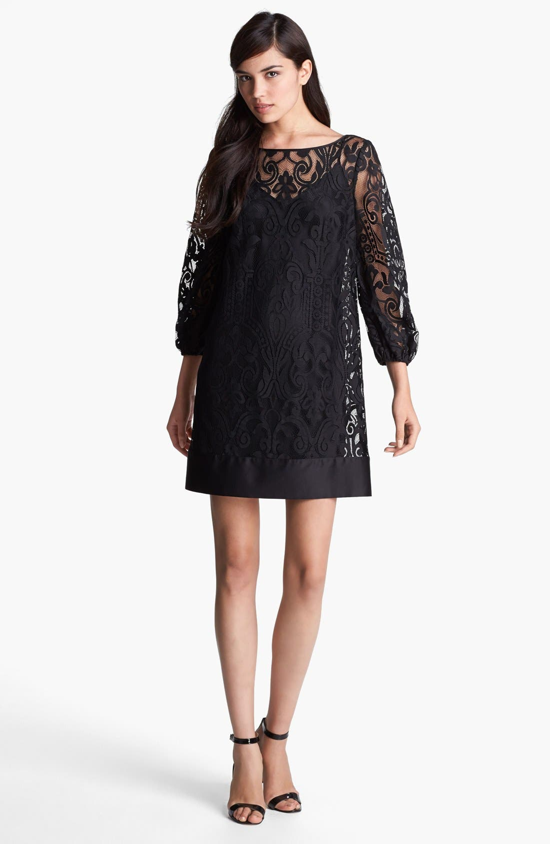 LAUNDRY BY SHELLI SEGAL,                             Blouson Sleeve Lace Dress,                             Main thumbnail 1, color,                             001
