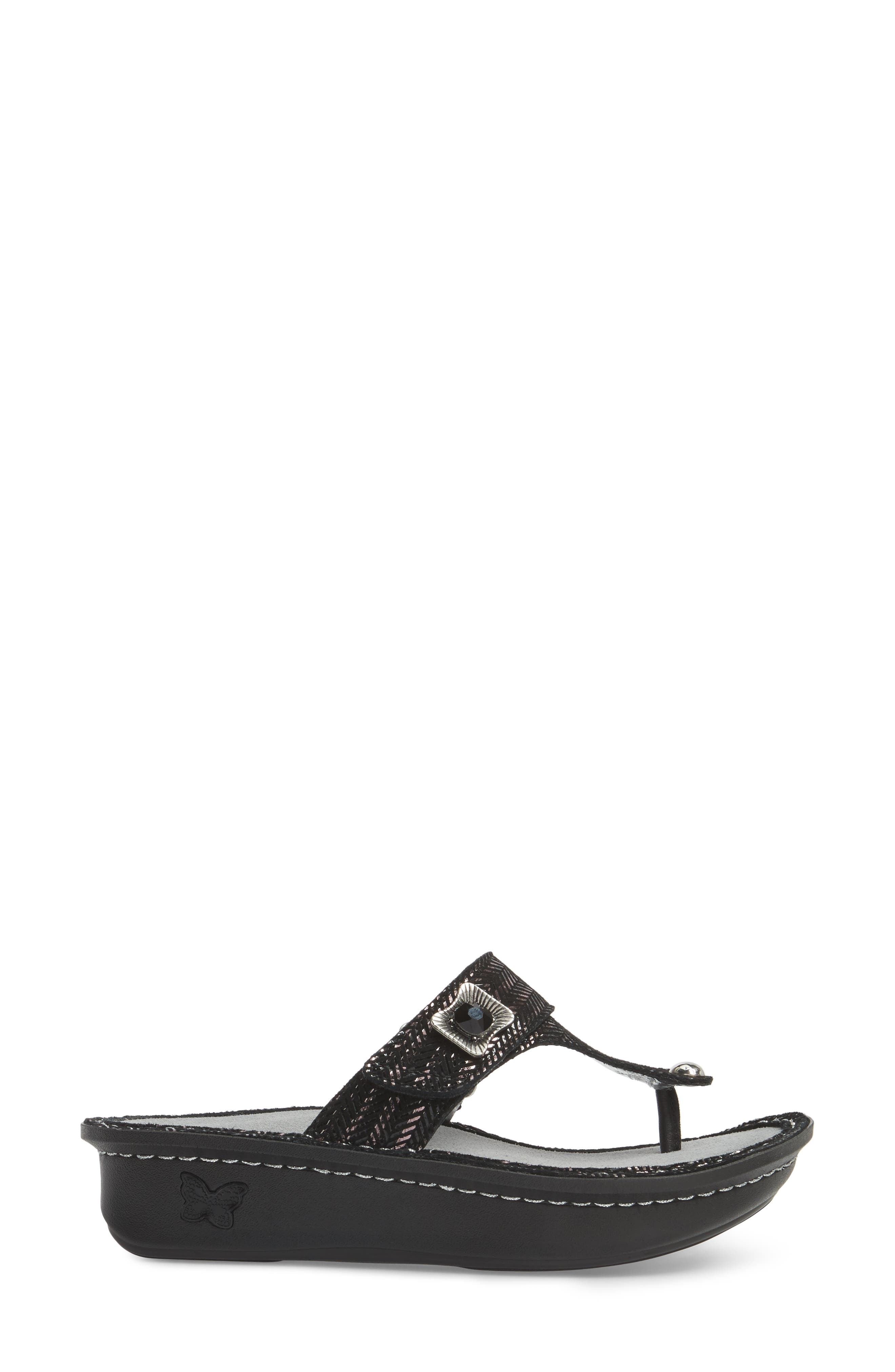 'Carina' Sandal,                             Alternate thumbnail 3, color,                             CHAINED BLACK LEATHER