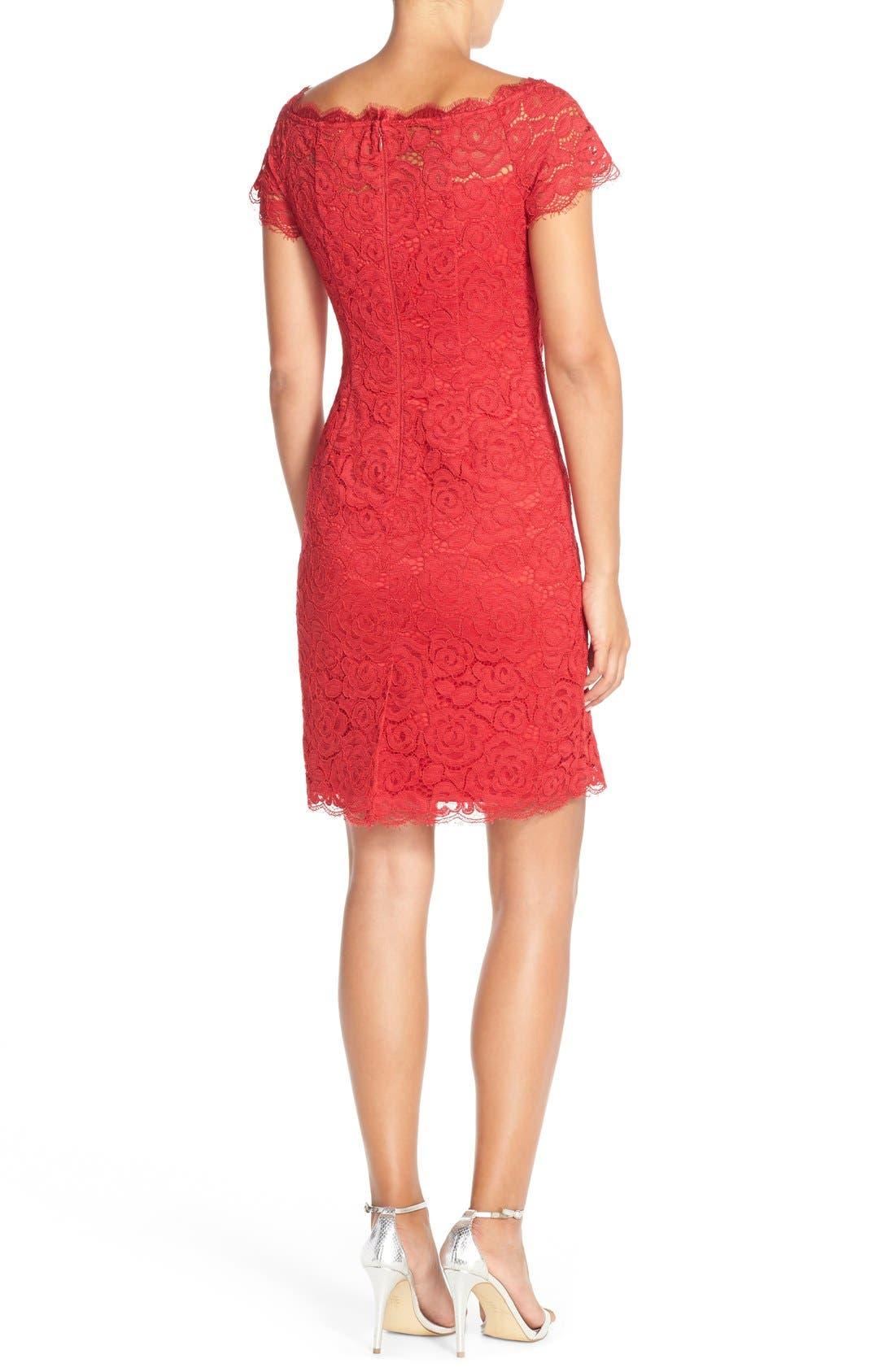 Off the Shoulder Lace Sheath Dress,                             Alternate thumbnail 23, color,