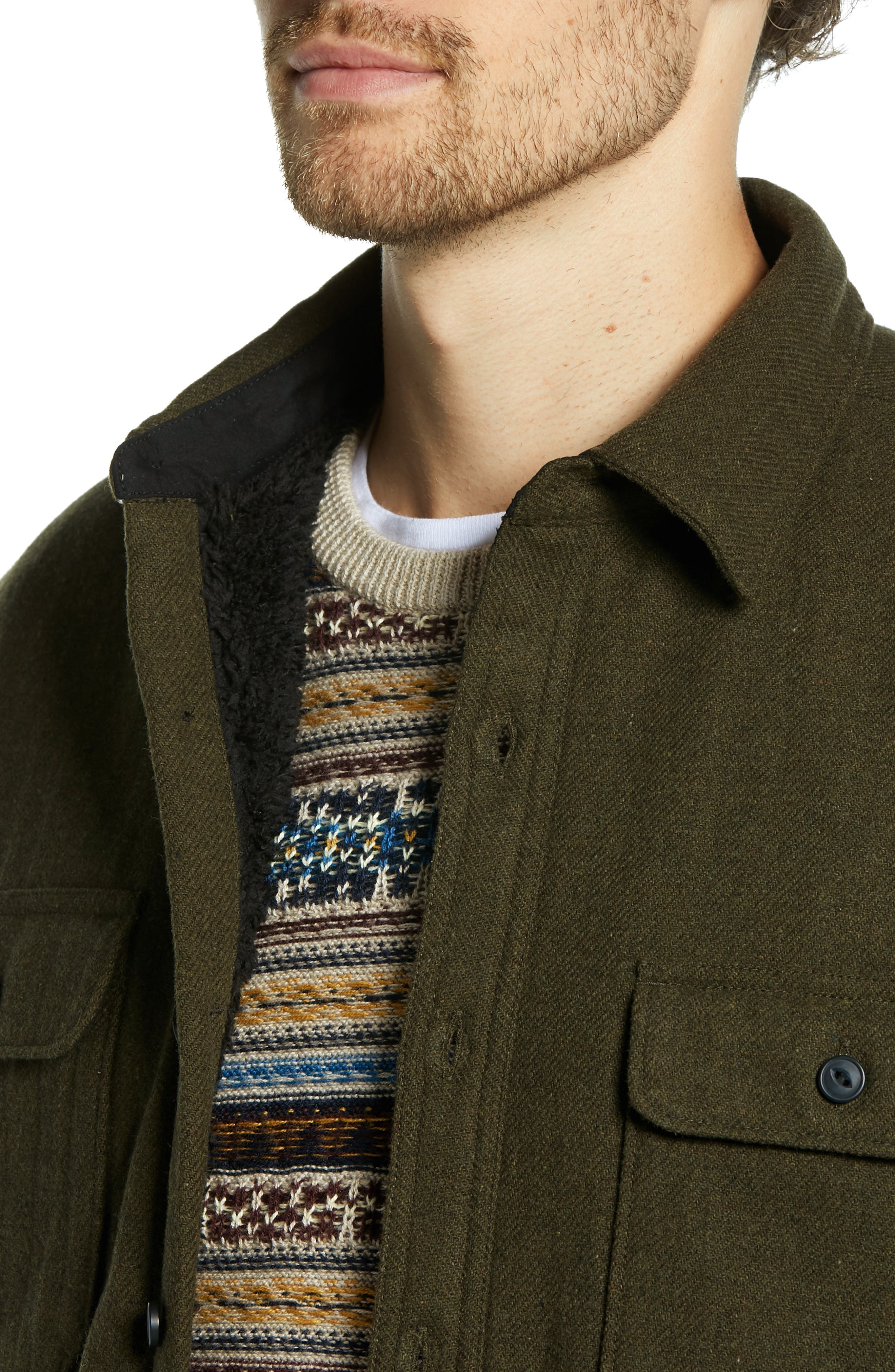 Lined Wool Blend Shirt Jacket,                             Alternate thumbnail 4, color,                             GREEN FOREST HEATHER