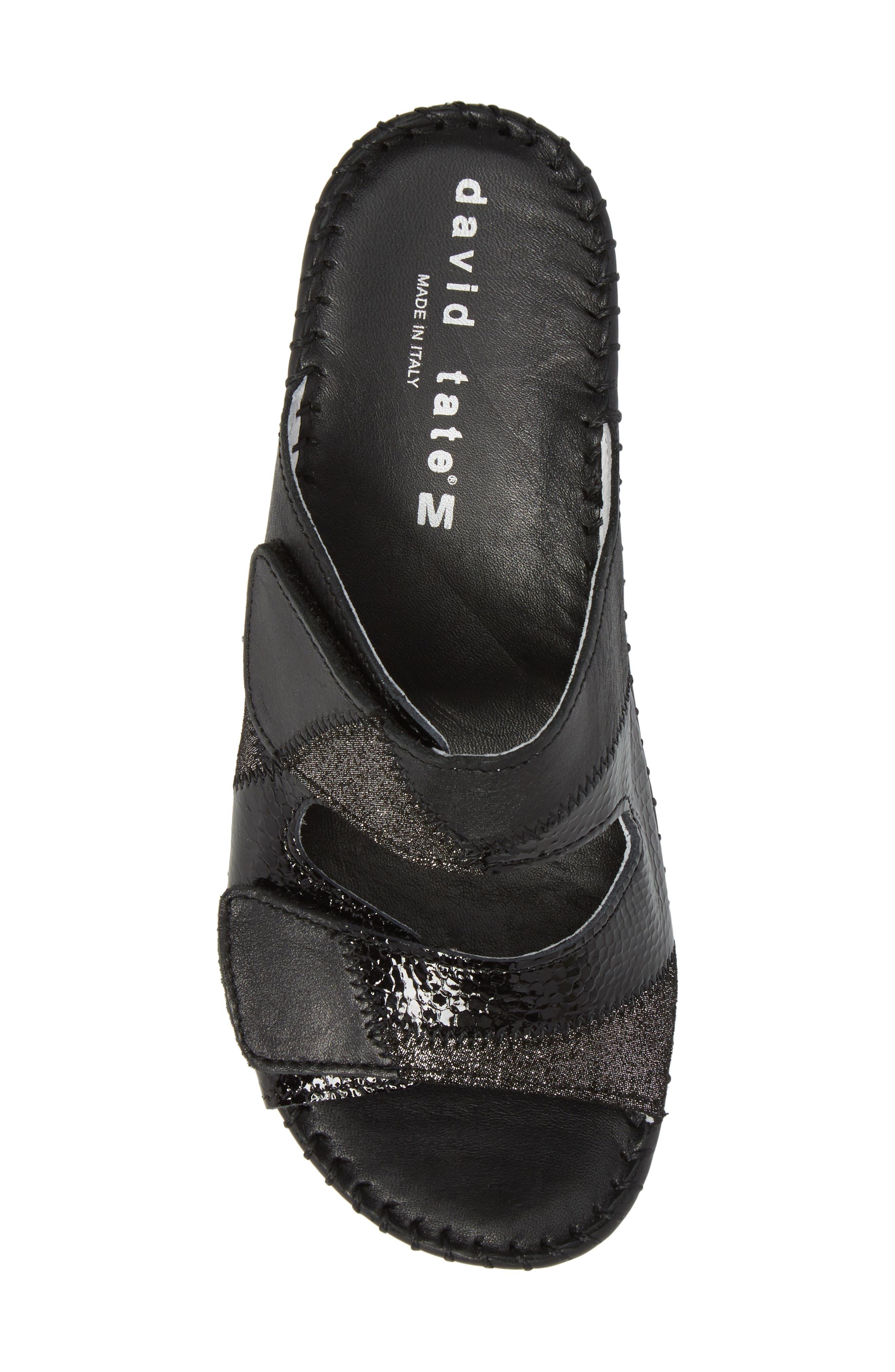 DAVID TATE,                             Flex Slide Sandal,                             Alternate thumbnail 5, color,                             BLACK LEATHER