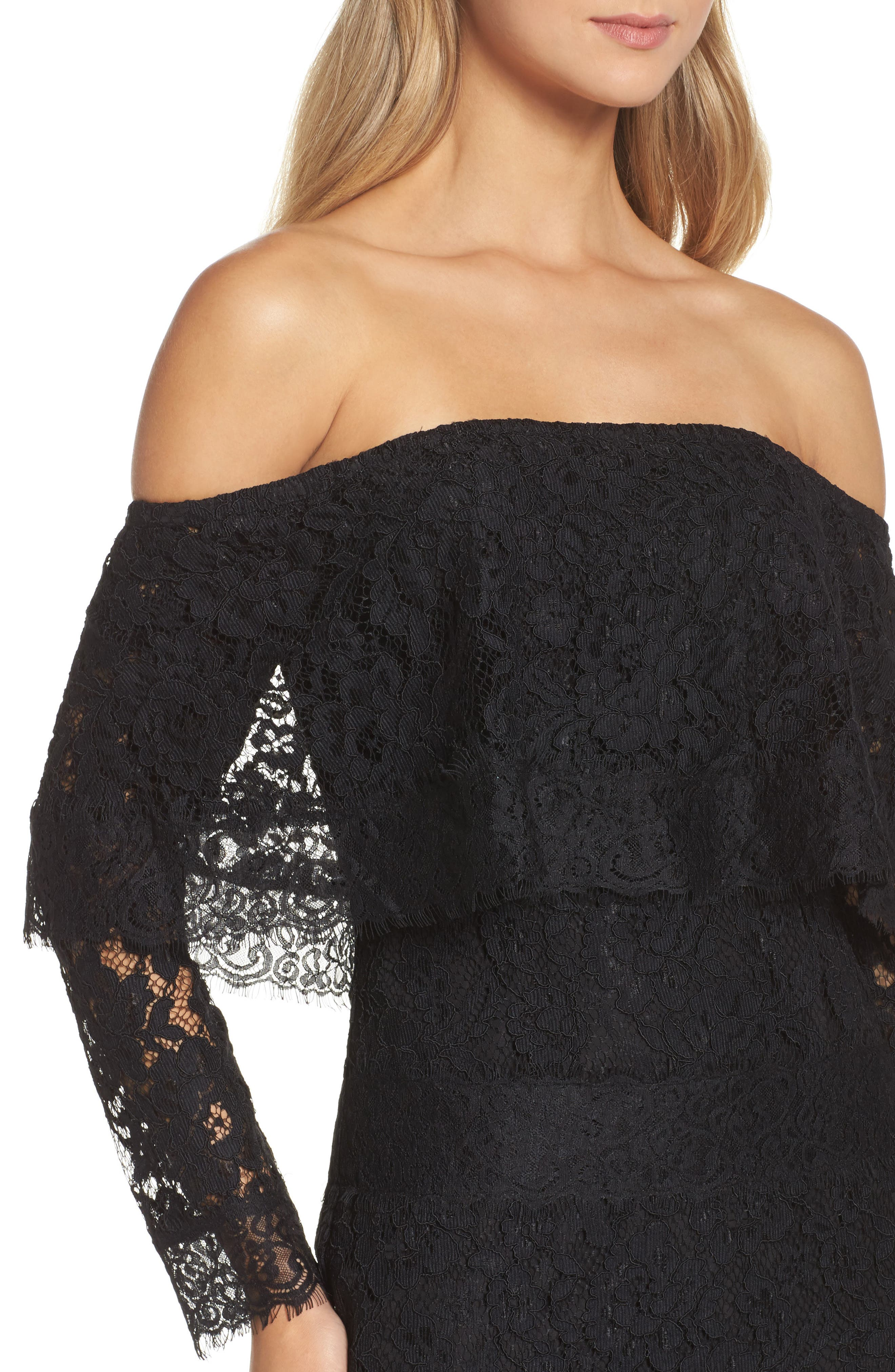 Soiree Lace Off the Shoulder Gown,                             Alternate thumbnail 4, color,                             001