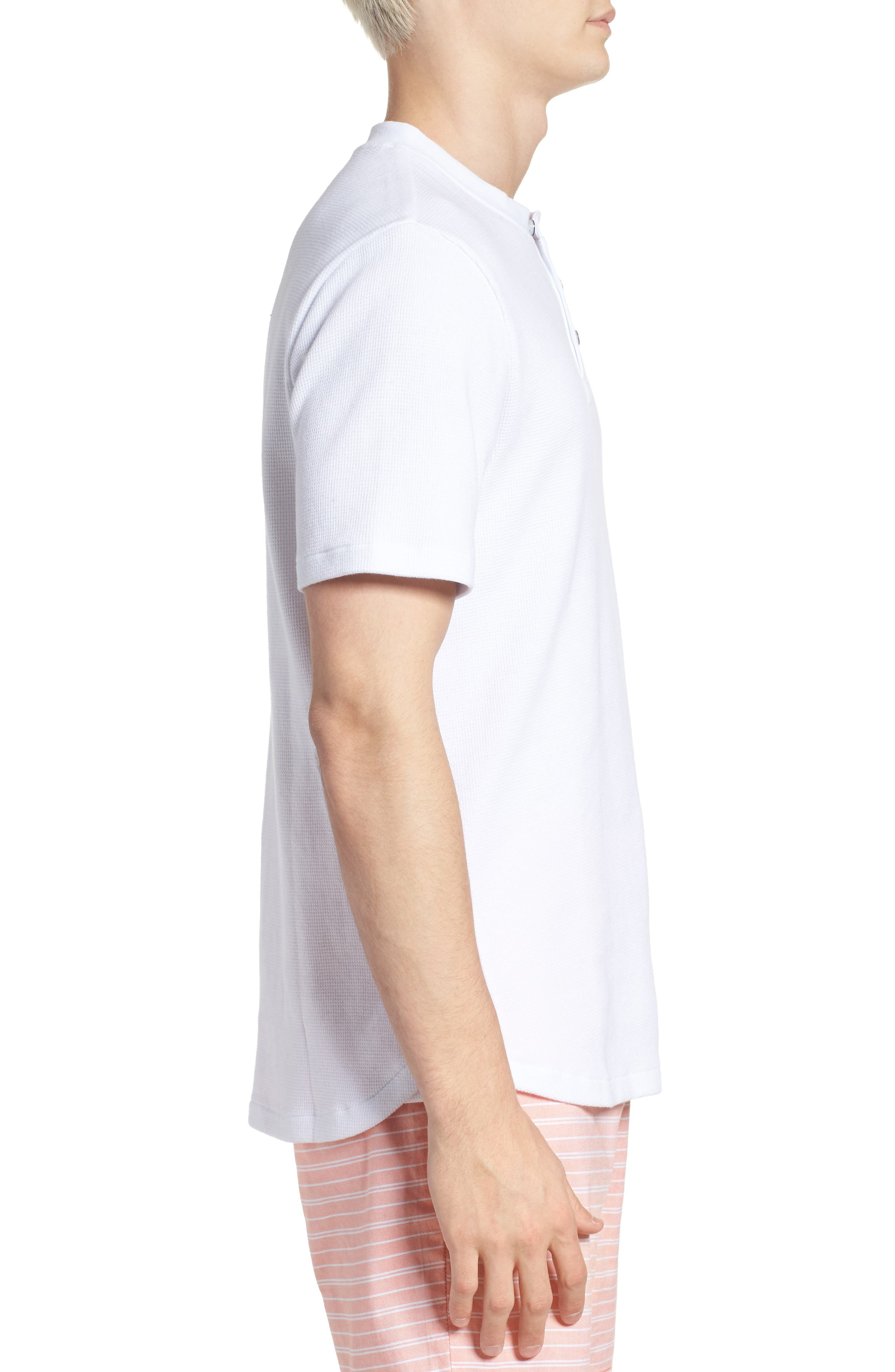 Waffle Knit Henley,                             Alternate thumbnail 3, color,                             BRIGHT WHITE