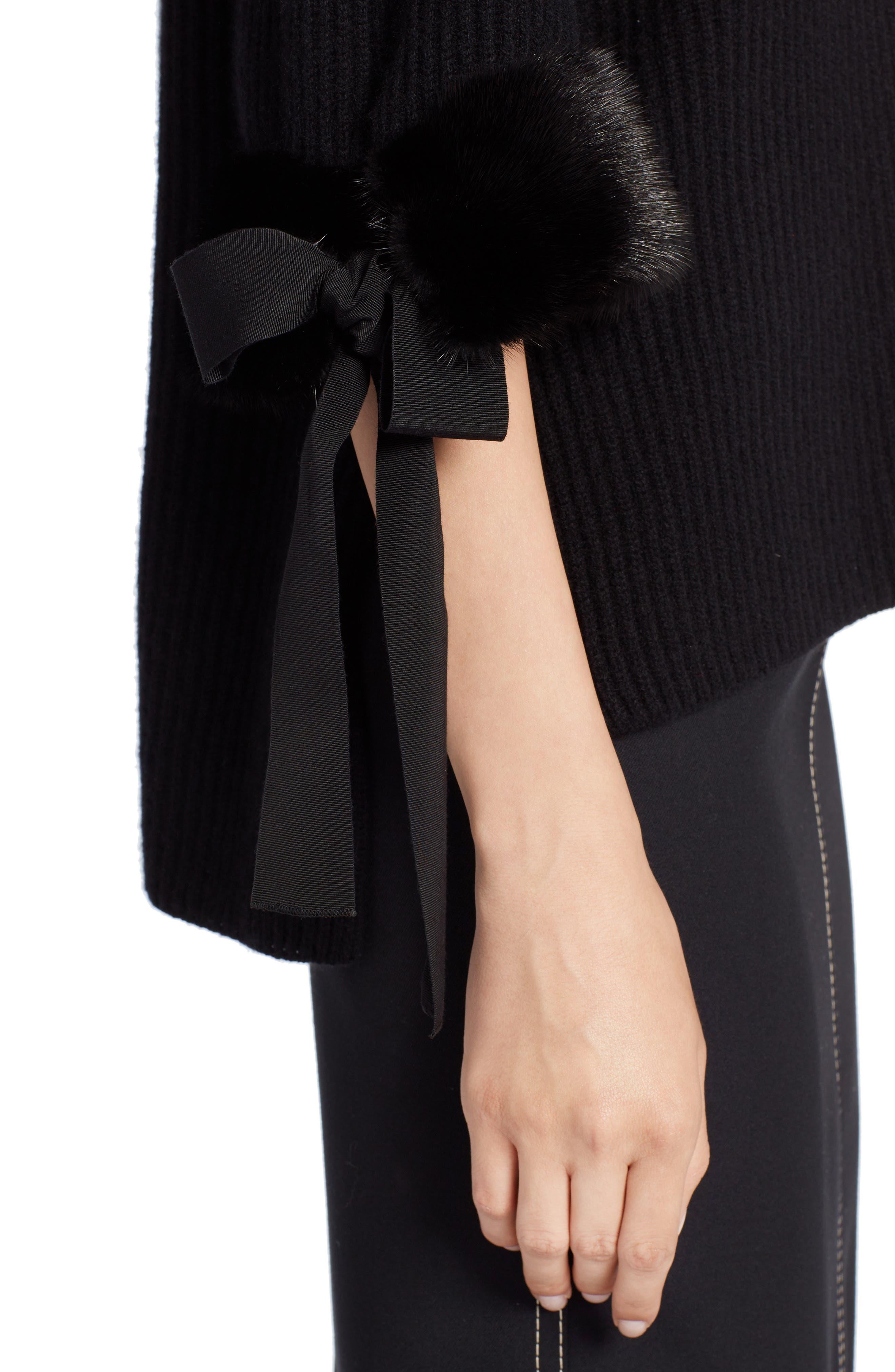 Cashmere & Genuine Mink Fur Sweater,                             Alternate thumbnail 4, color,                             BLACK