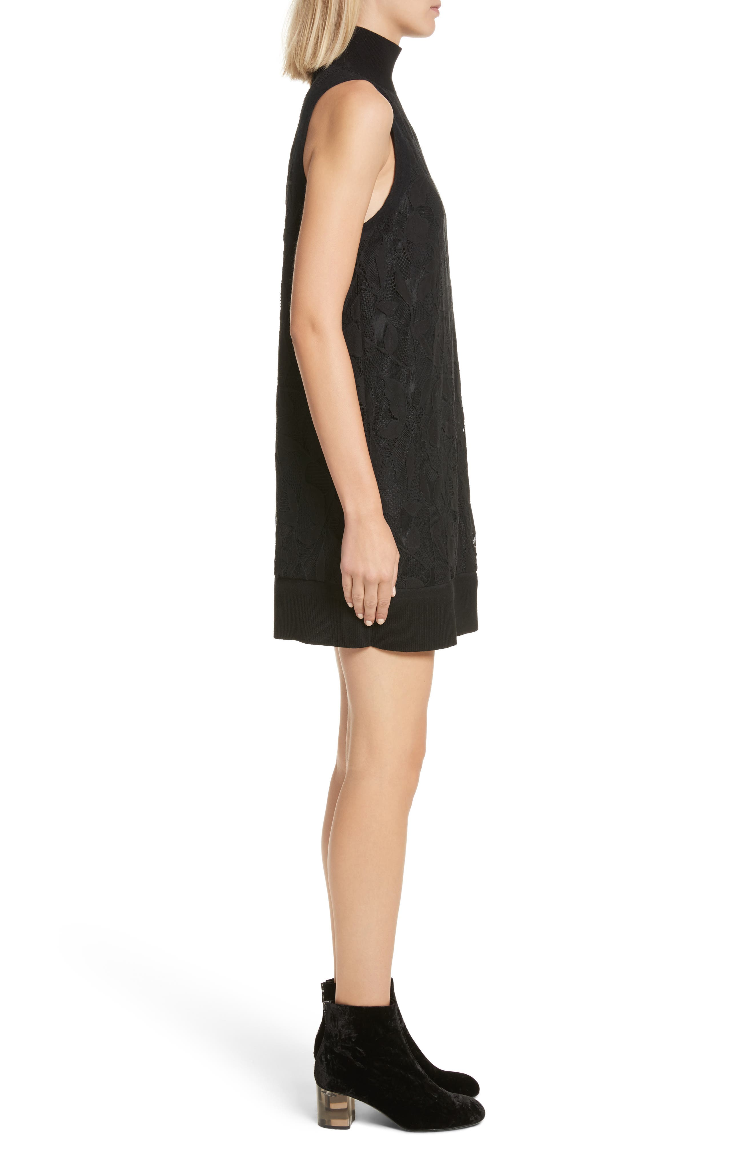Sofiya Lace Dress,                             Alternate thumbnail 3, color,                             001