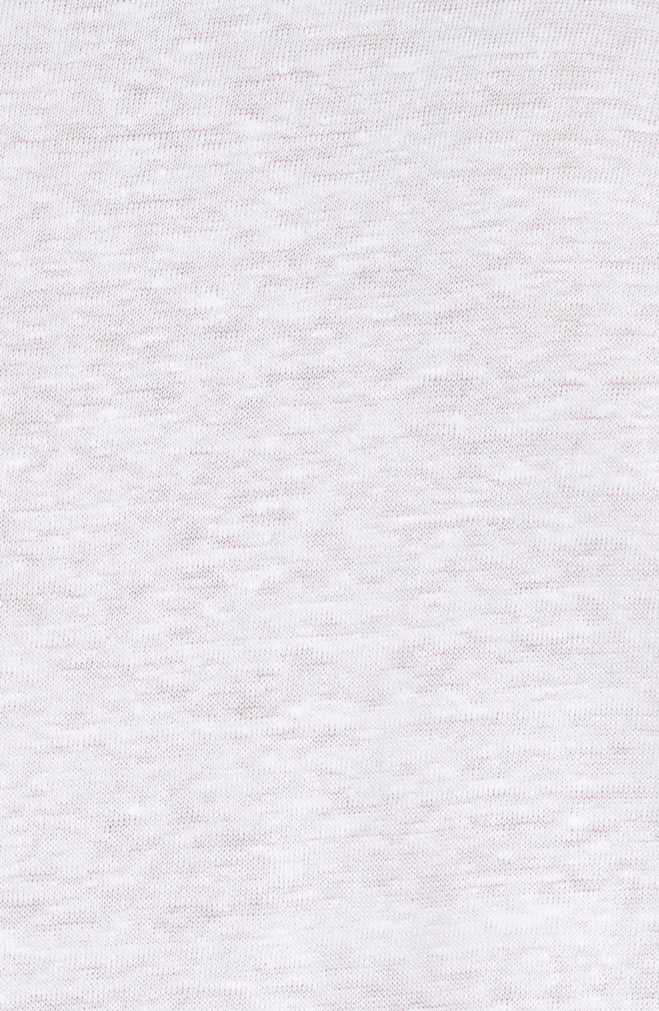Linen Slub Jersey Linen Polo,                             Alternate thumbnail 5, color,                             WHITE