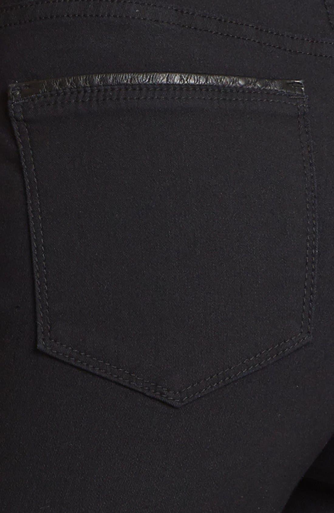 'Megan' Faux Leather Trim Stretch Skinny Jeans,                             Alternate thumbnail 6, color,                             460