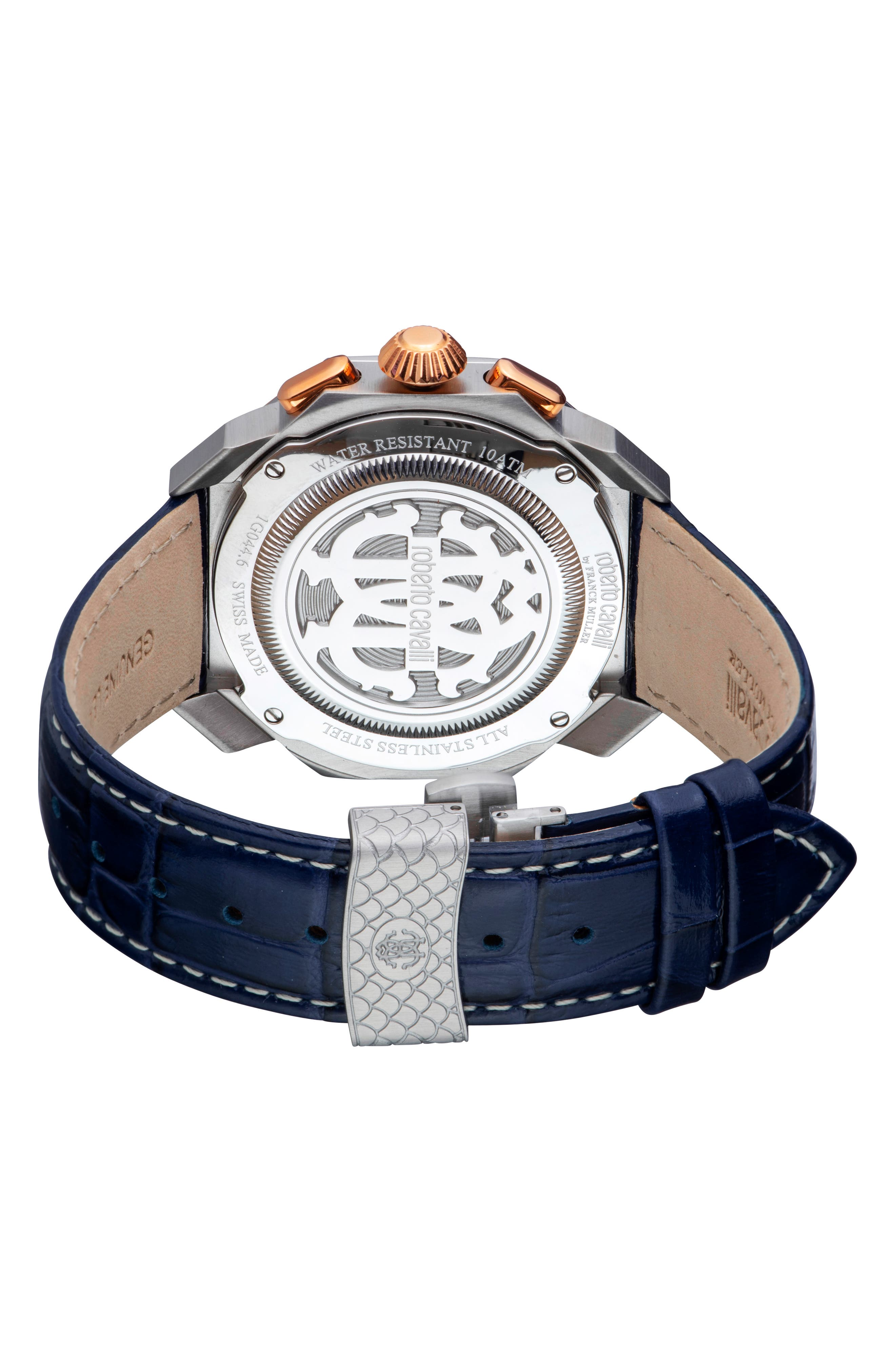 Sport Chronograph Leather Strap Watch,                             Alternate thumbnail 2, color,                             BLUE/ SILVER/ BLUE