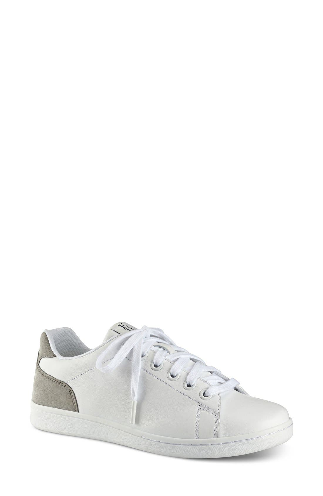 'Chapala' Sneaker,                         Main,                         color, PURE WHITE LEATHER/ STEEL GREY