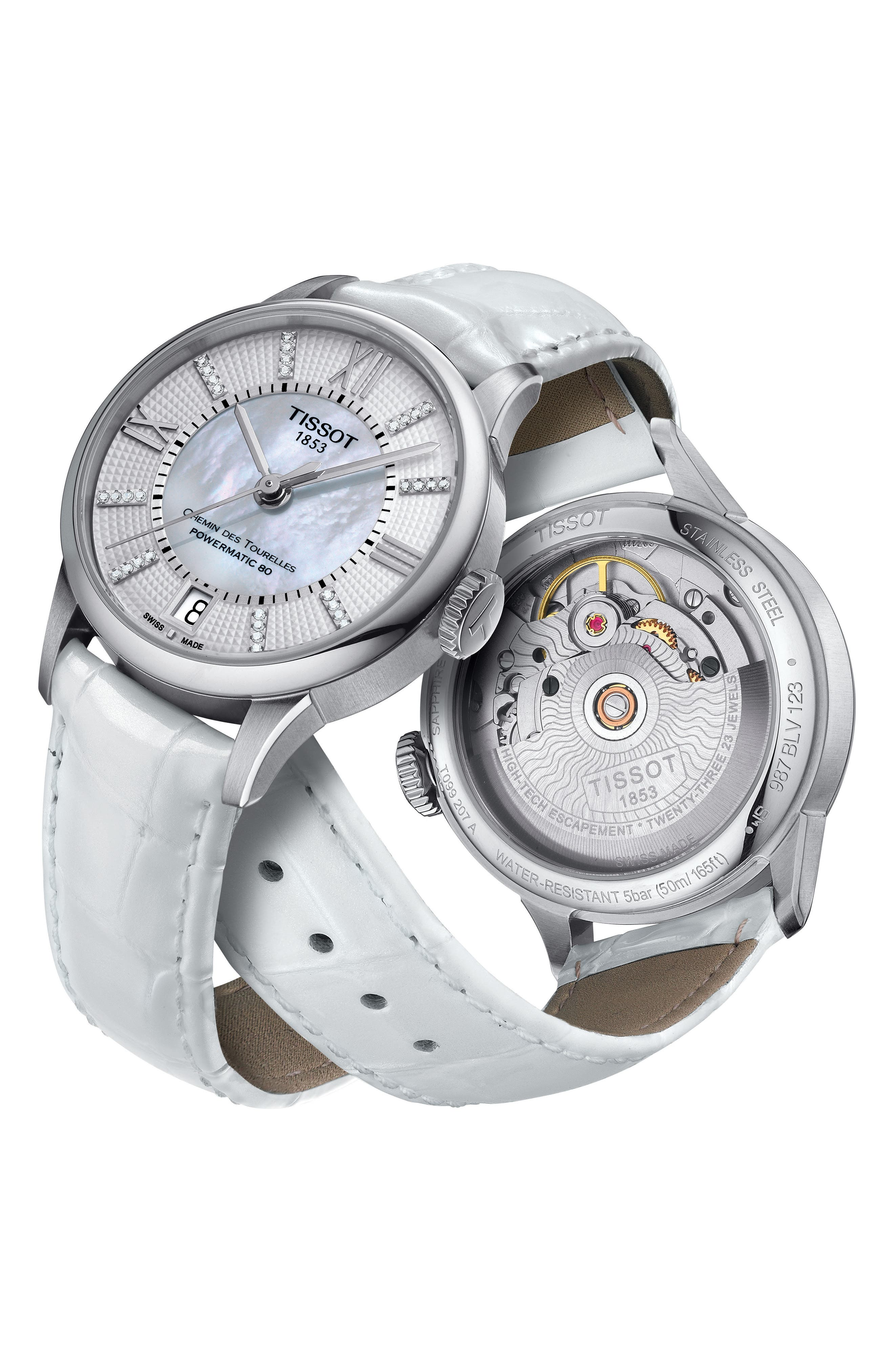 Chemin Des Tourelles Diamond Leather Strap Watch, 32mm,                             Alternate thumbnail 3, color,                             WHITE/ MOTHER OF PEARL/ SILVER