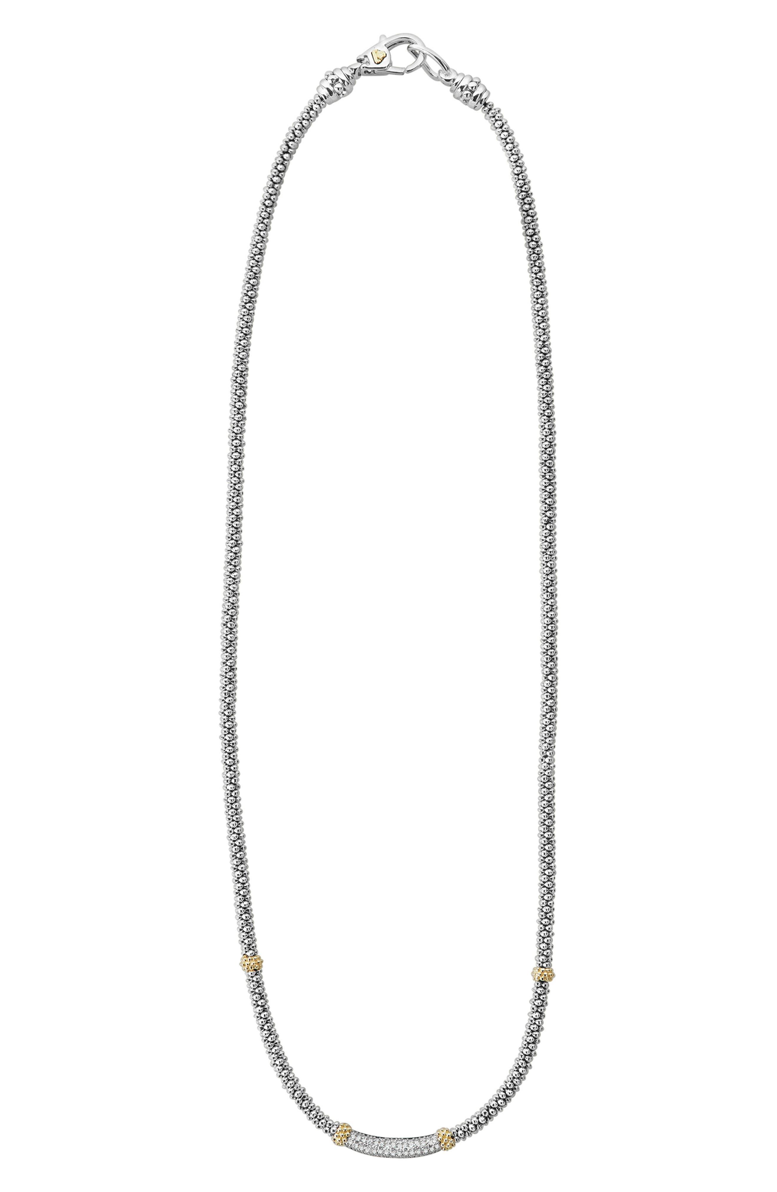 Lux Diamond Rope Necklace,                             Alternate thumbnail 2, color,                             SILVER/ DIAMOND