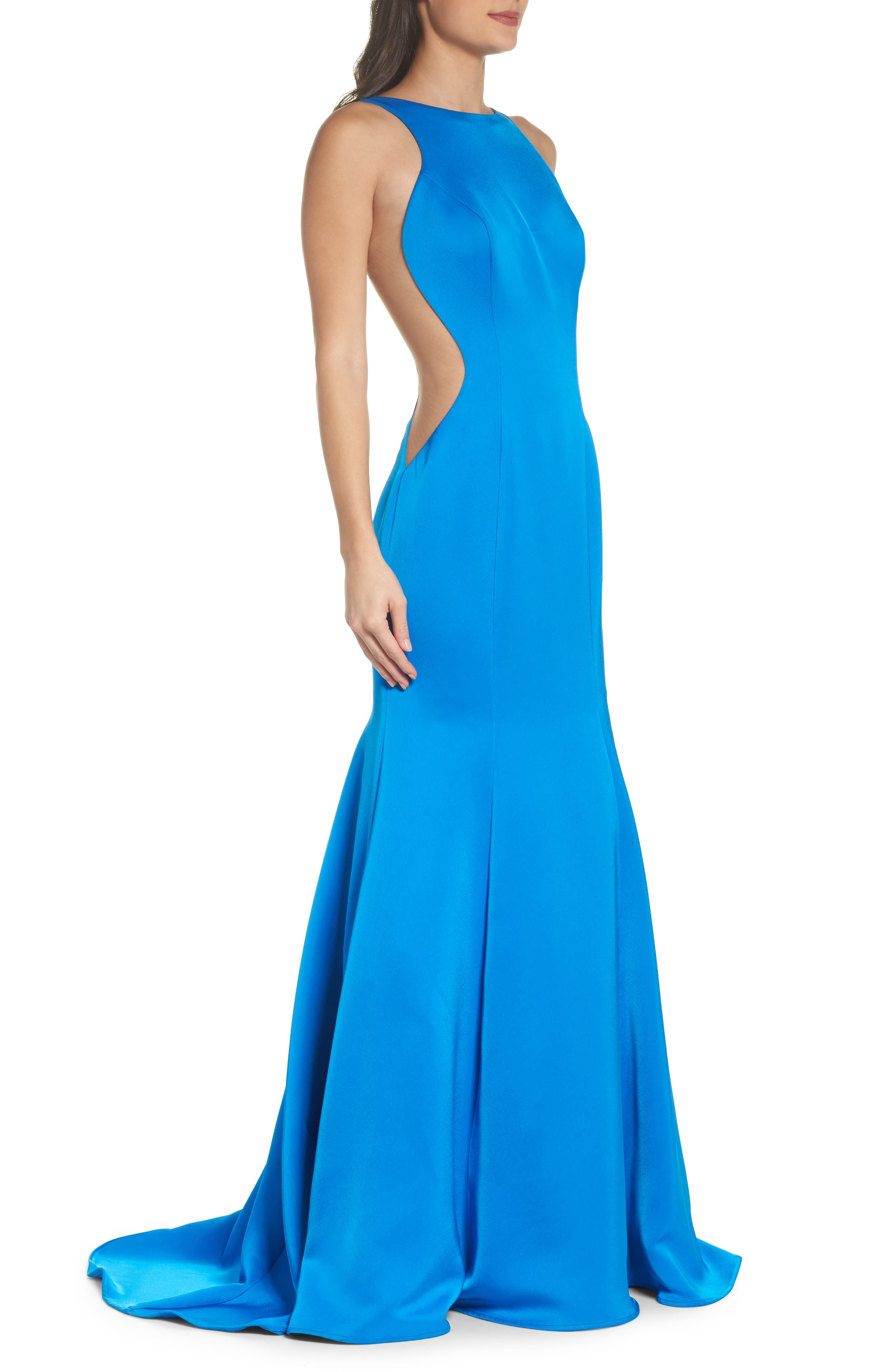 Side Illusion Satin Mermaid Gown,                             Alternate thumbnail 3, color,                             OCEAN BLUE