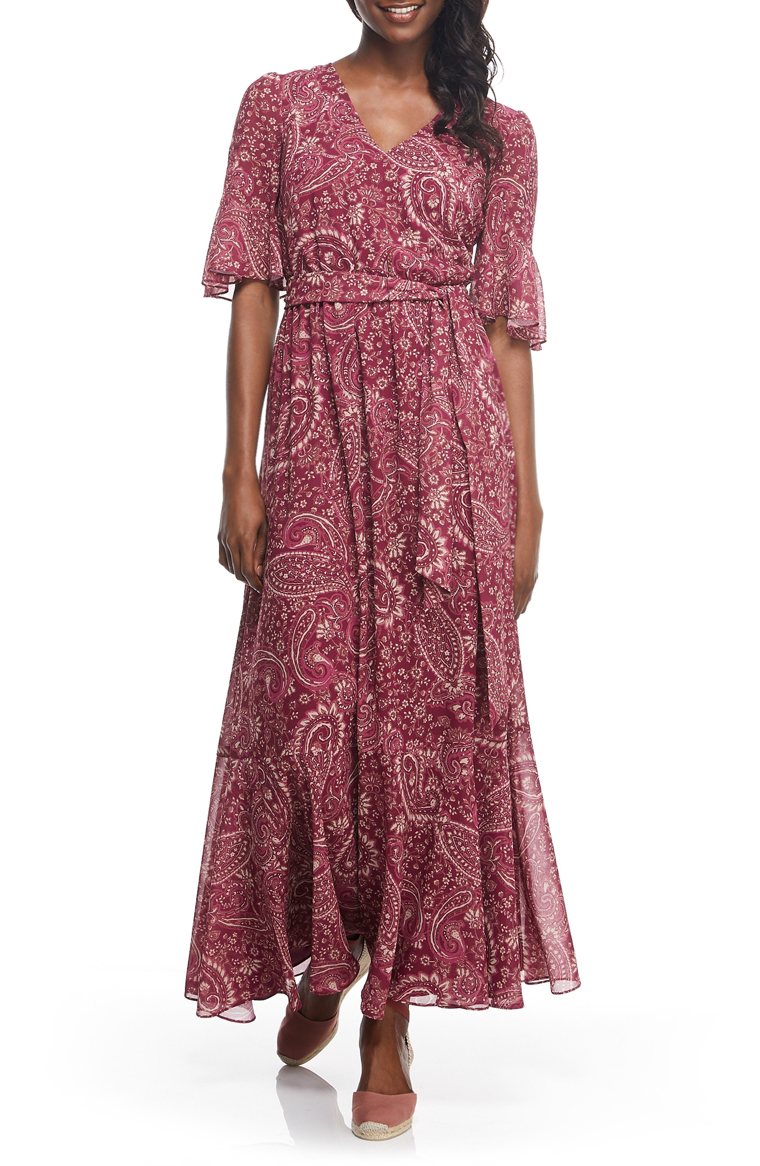 Gal Meets Glam Collection Candace Print Chiffon Maxi Dress