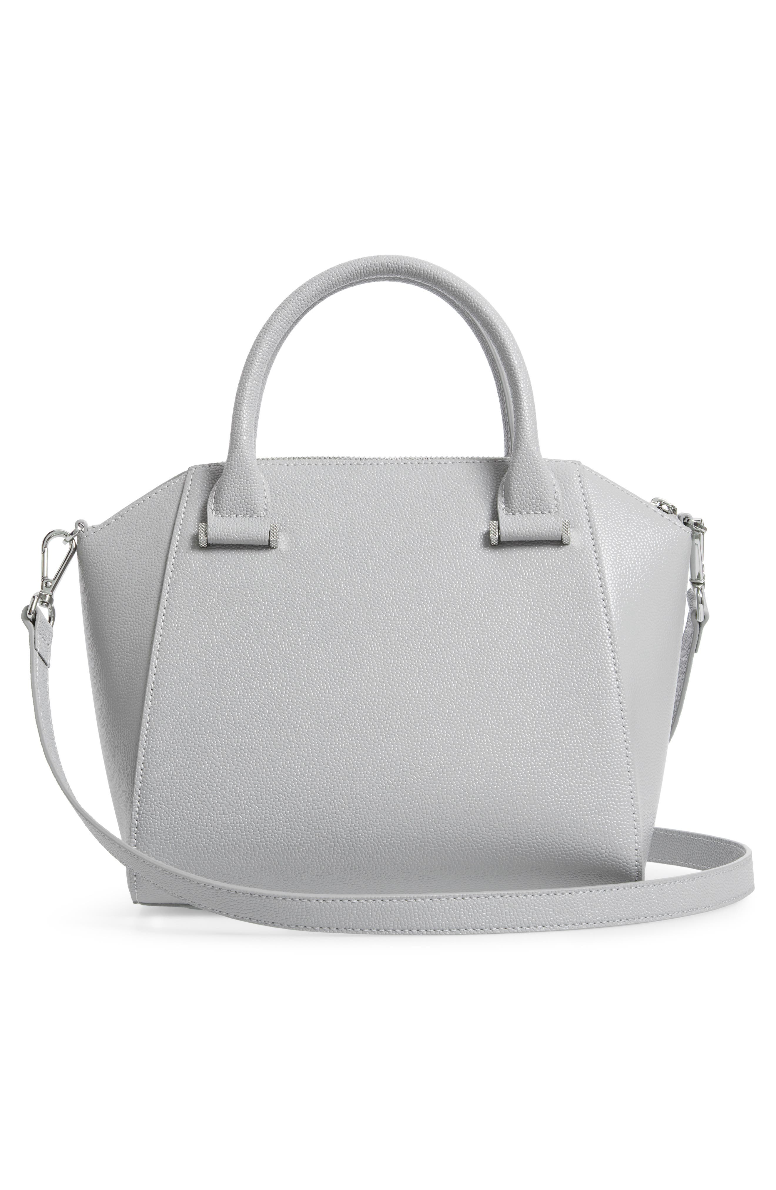 TED BAKER LONDON,                             Janne Bow Leather Tote,                             Alternate thumbnail 3, color,                             GREY