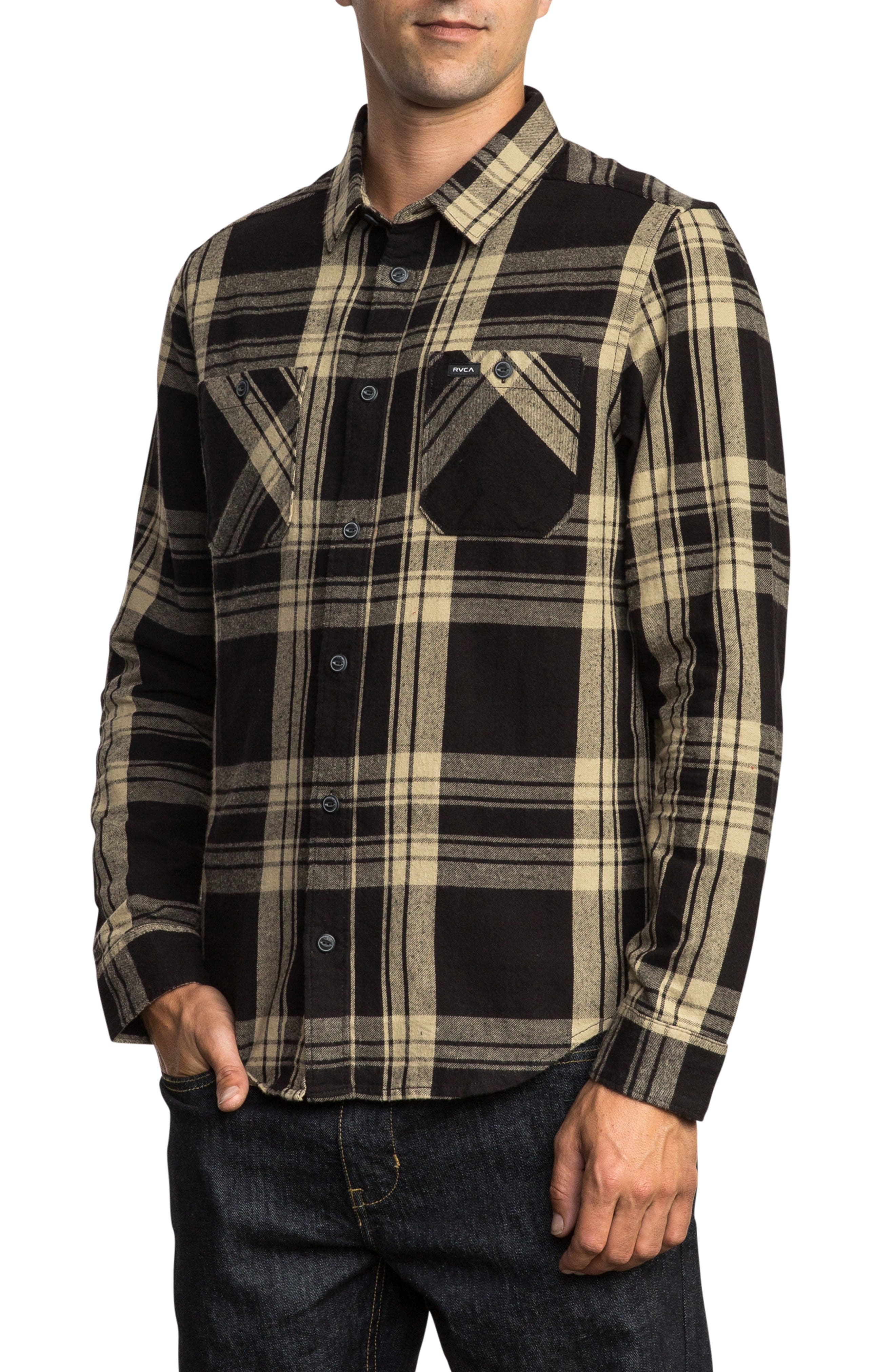 Wanted Flannel Shirt,                             Alternate thumbnail 3, color,                             RVCA BLACK