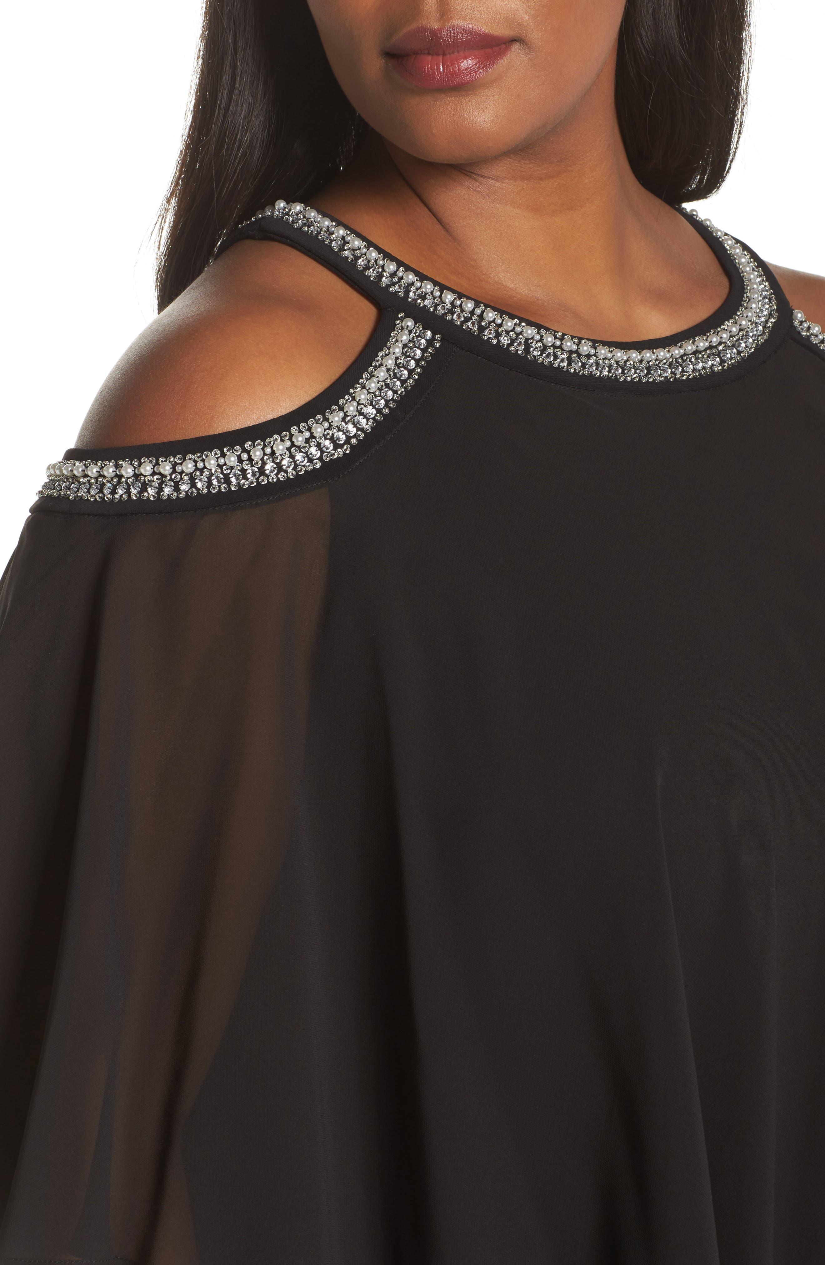 Embellished Cold Shoulder Popover Gown,                             Alternate thumbnail 4, color,                             001