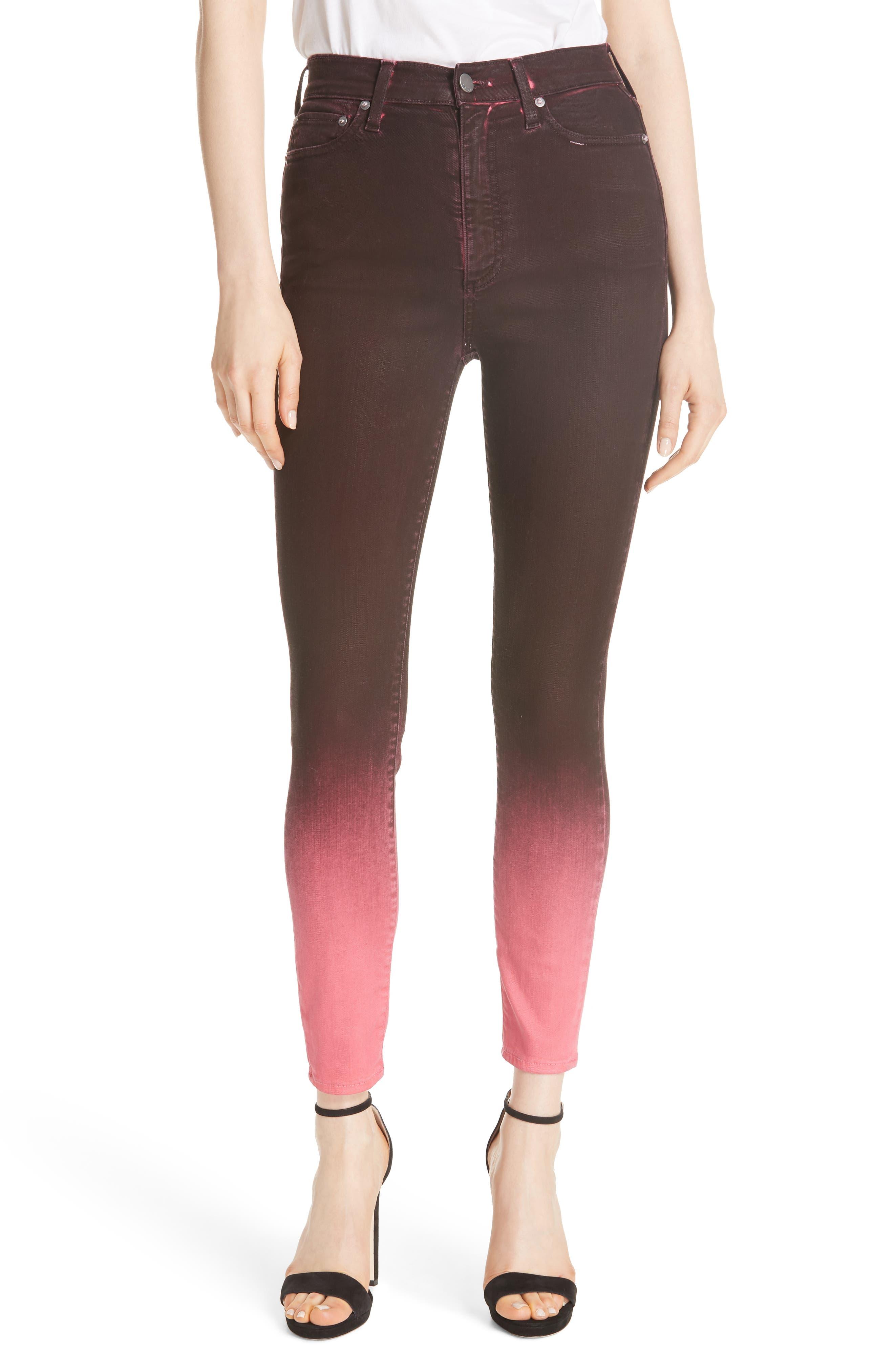 AO.LA Good High Waist Ankle Skinny Jeans,                         Main,                         color, WINE/ BUBBLEGUM