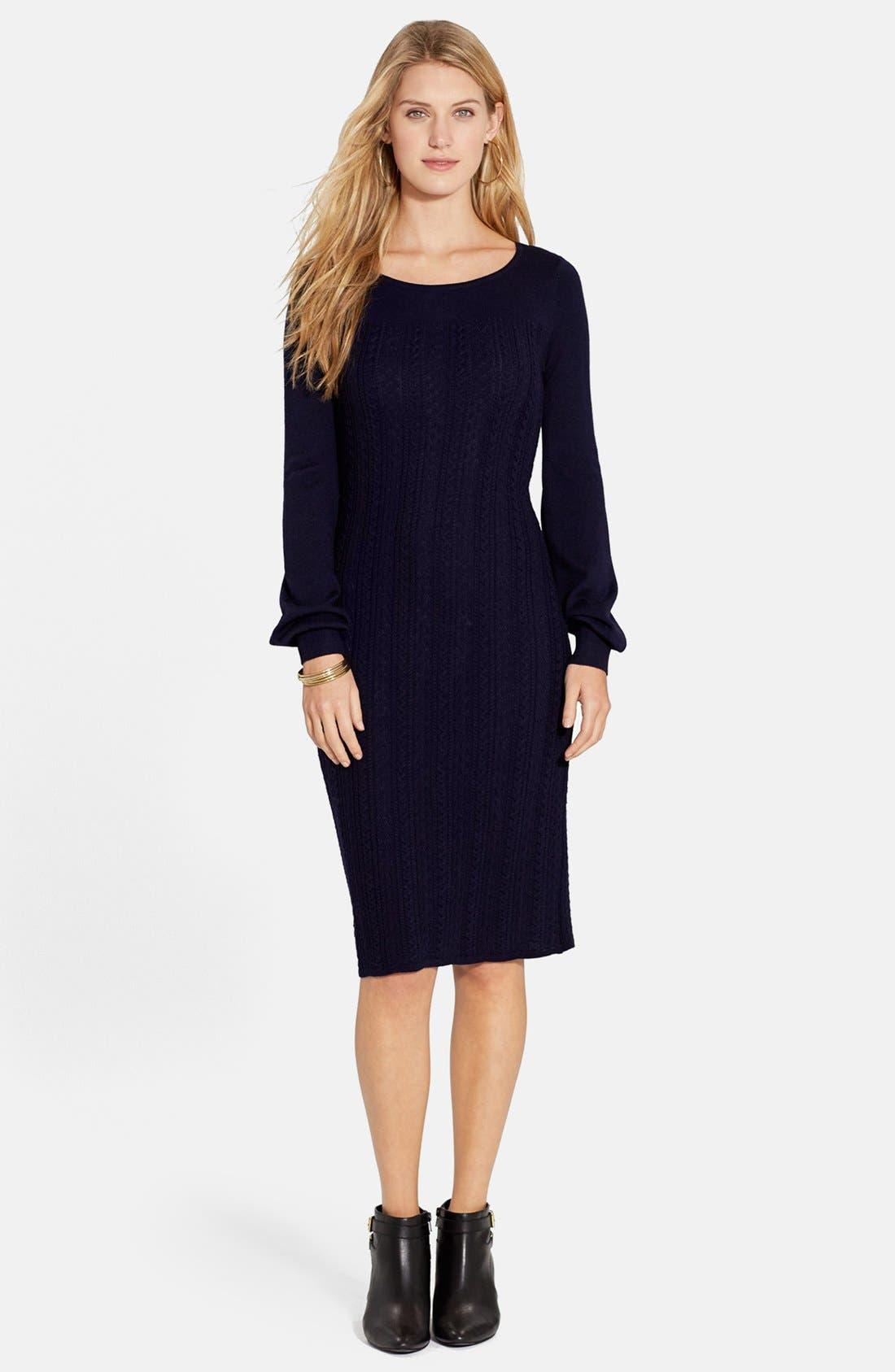 Cable Knit Merino Sweater Dress,                             Main thumbnail 1, color,                             401