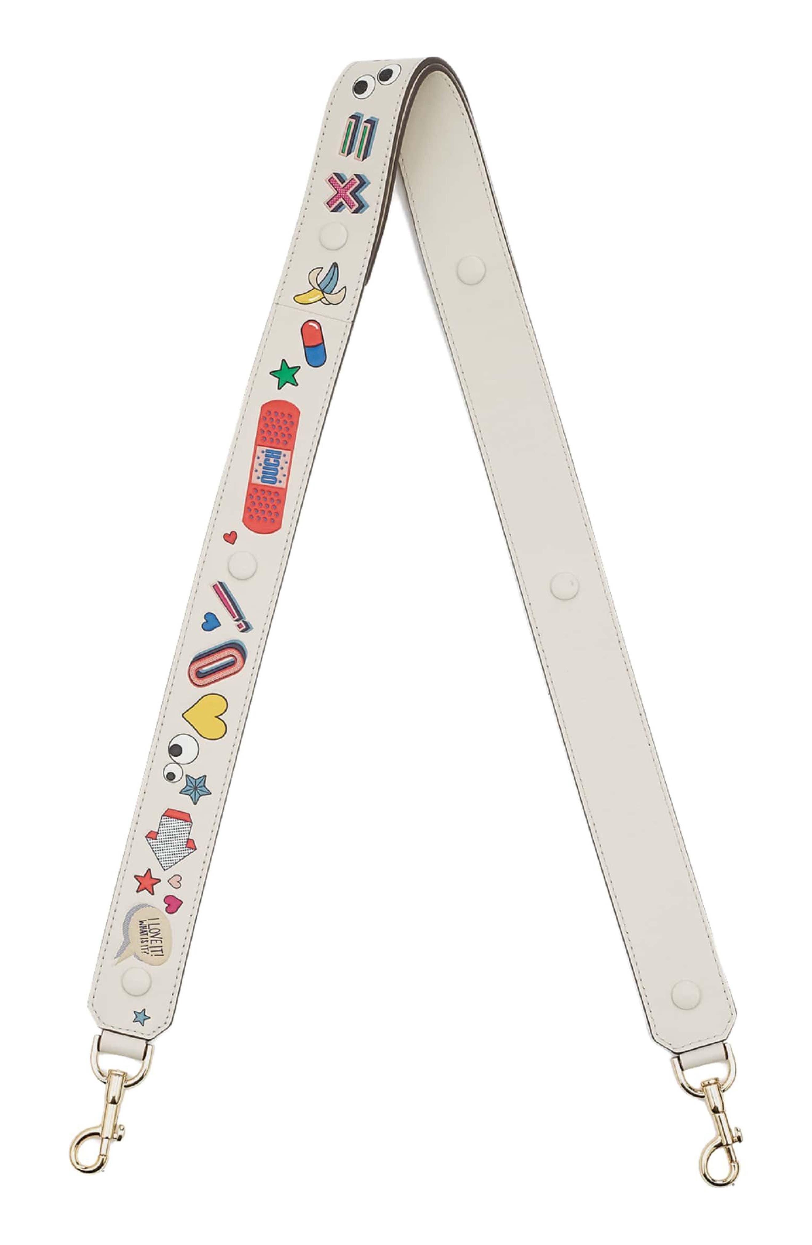 Build a Bag Stickers Leather Shoulder Strap,                             Main thumbnail 3, color,