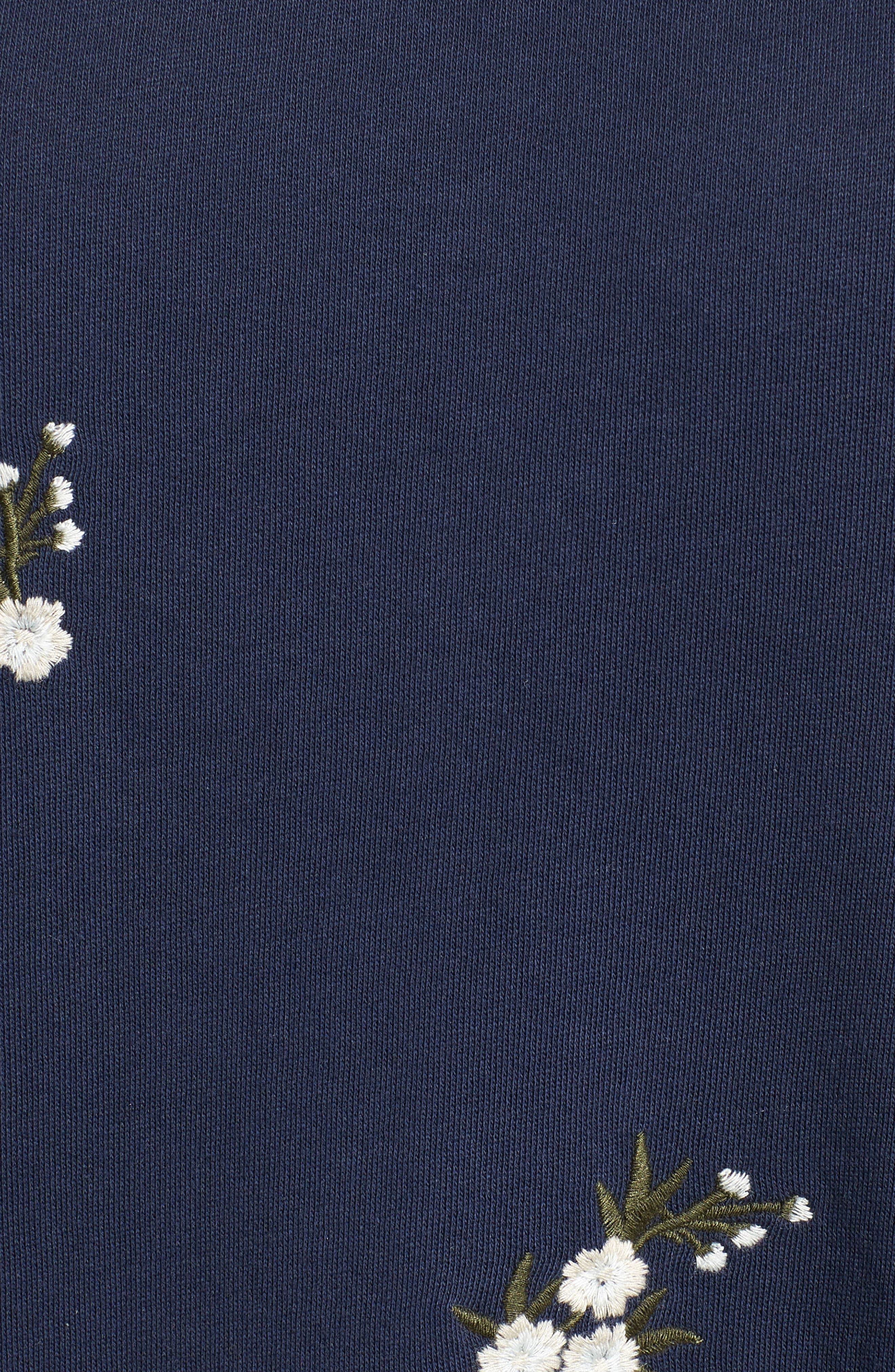 Embroidered Sweatshirt Dress,                             Alternate thumbnail 6, color,                             NAVY INDIGO GAYLE EMB