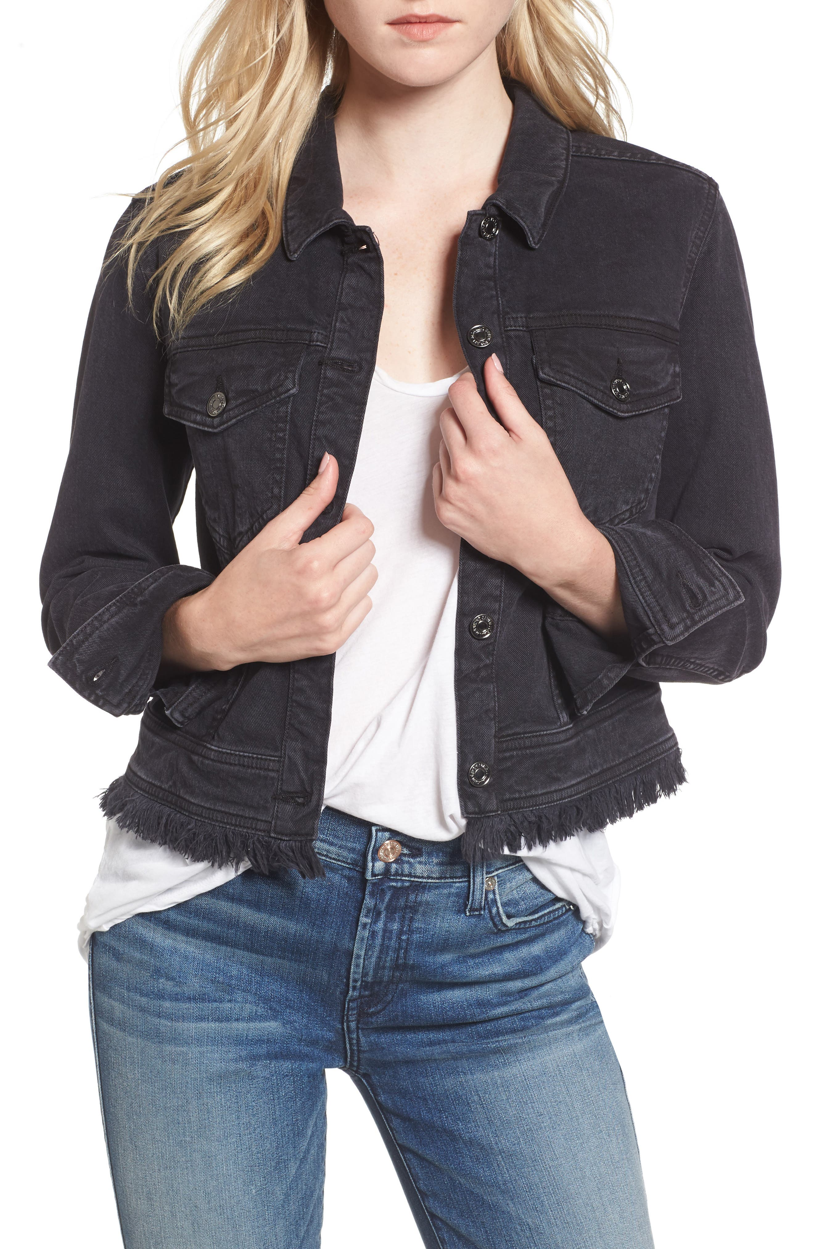 Embellished Boyfriend Denim Jacket,                             Main thumbnail 1, color,                             005