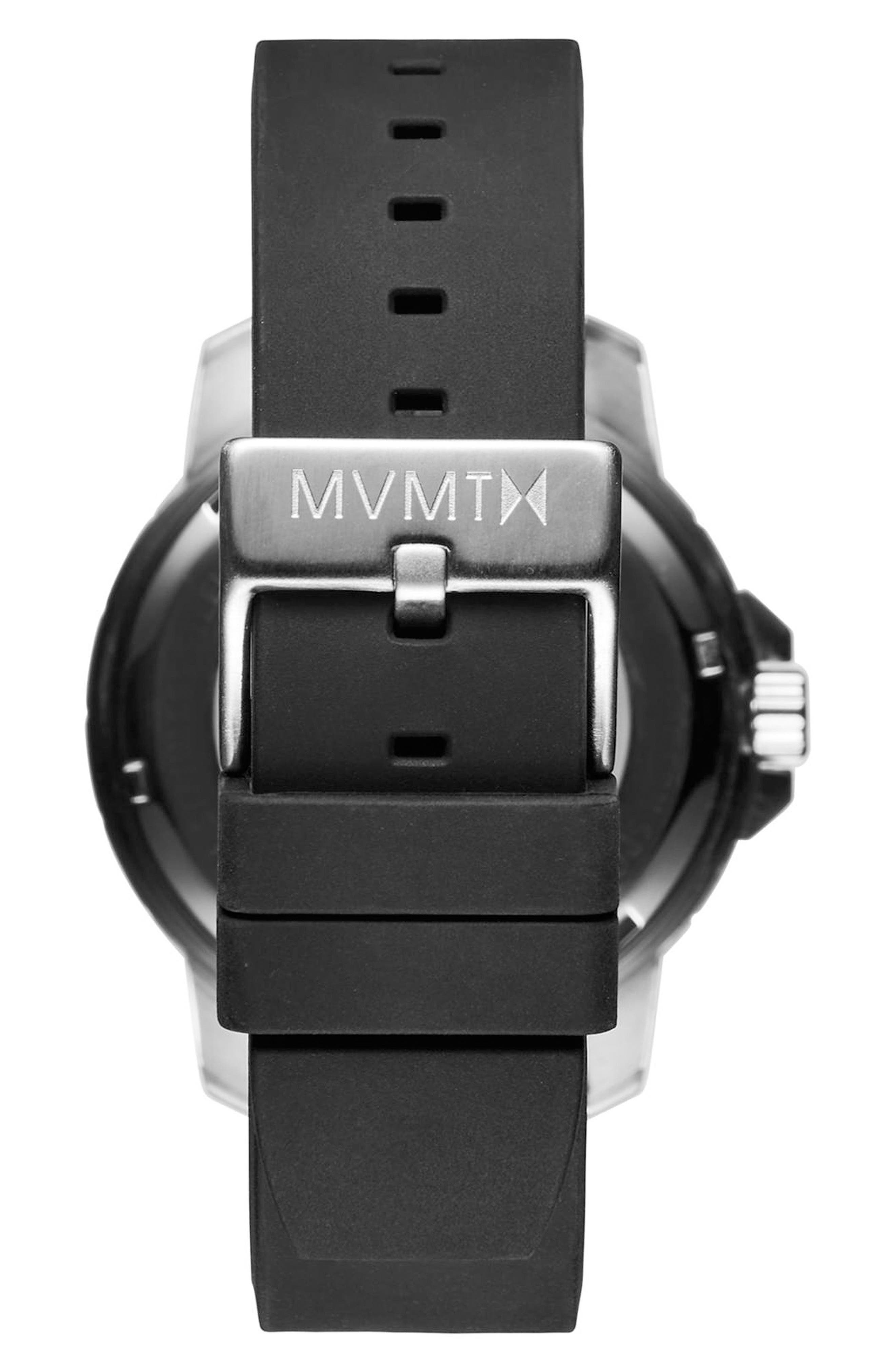 Modern Sport Silicone Strap Watch, 42mm,                             Alternate thumbnail 2, color,                             BLACK/ BLACK