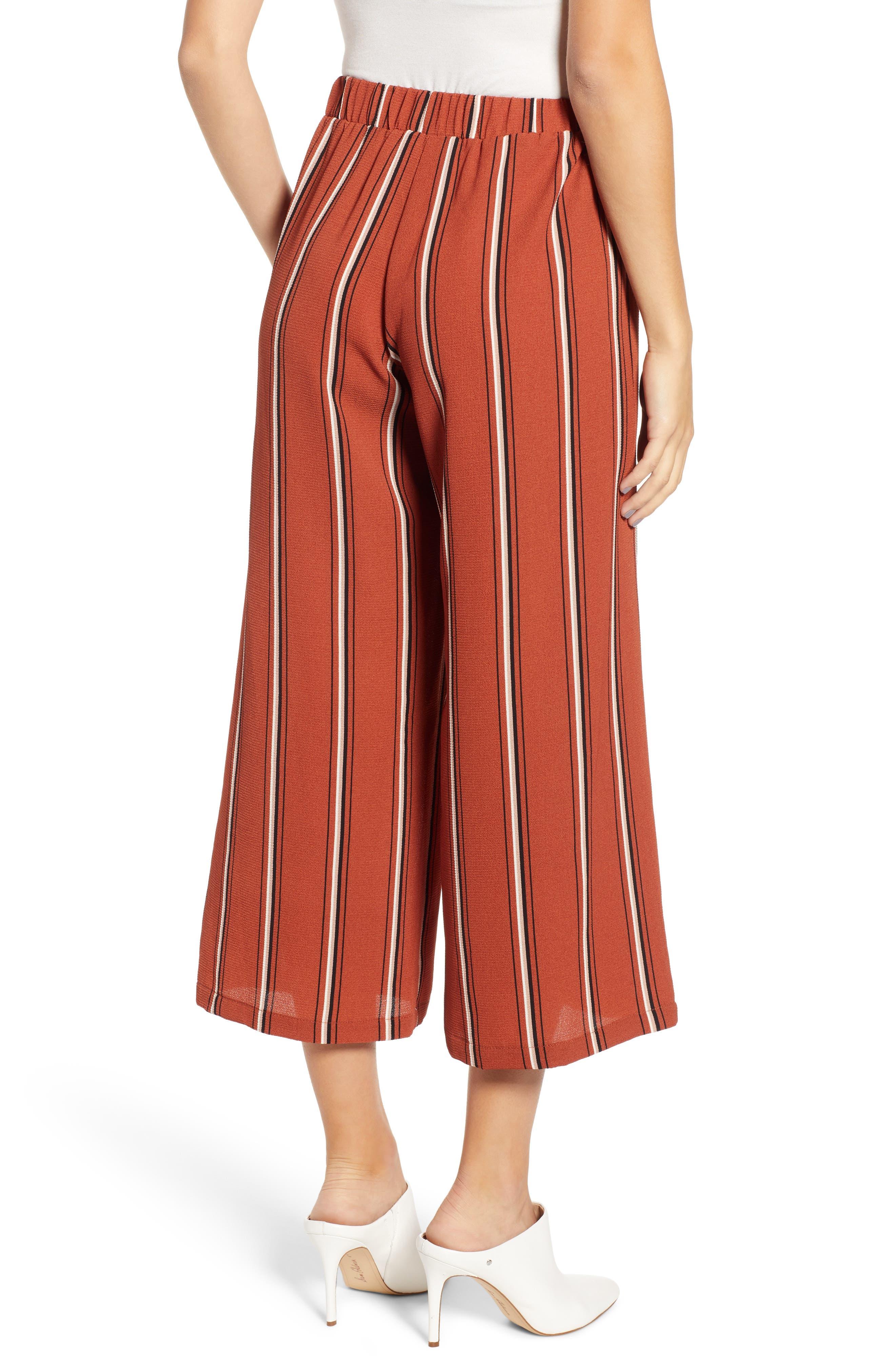 Tie Waist Stripe Wide Leg Crop Pants,                             Alternate thumbnail 2, color,                             RUST