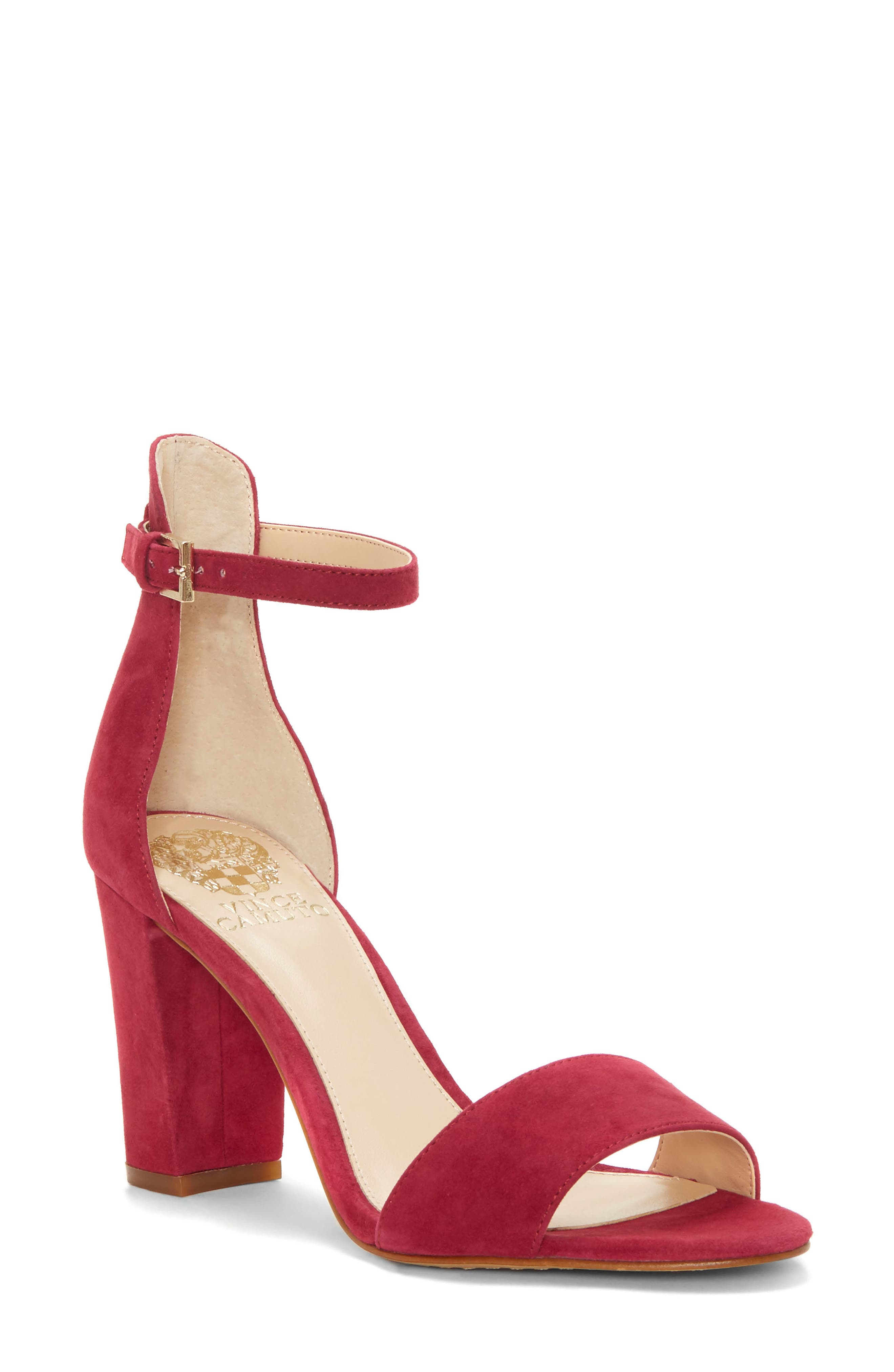 Corlina Ankle Strap Sandal,                         Main,                         color, SWEET BERRY SUEDE
