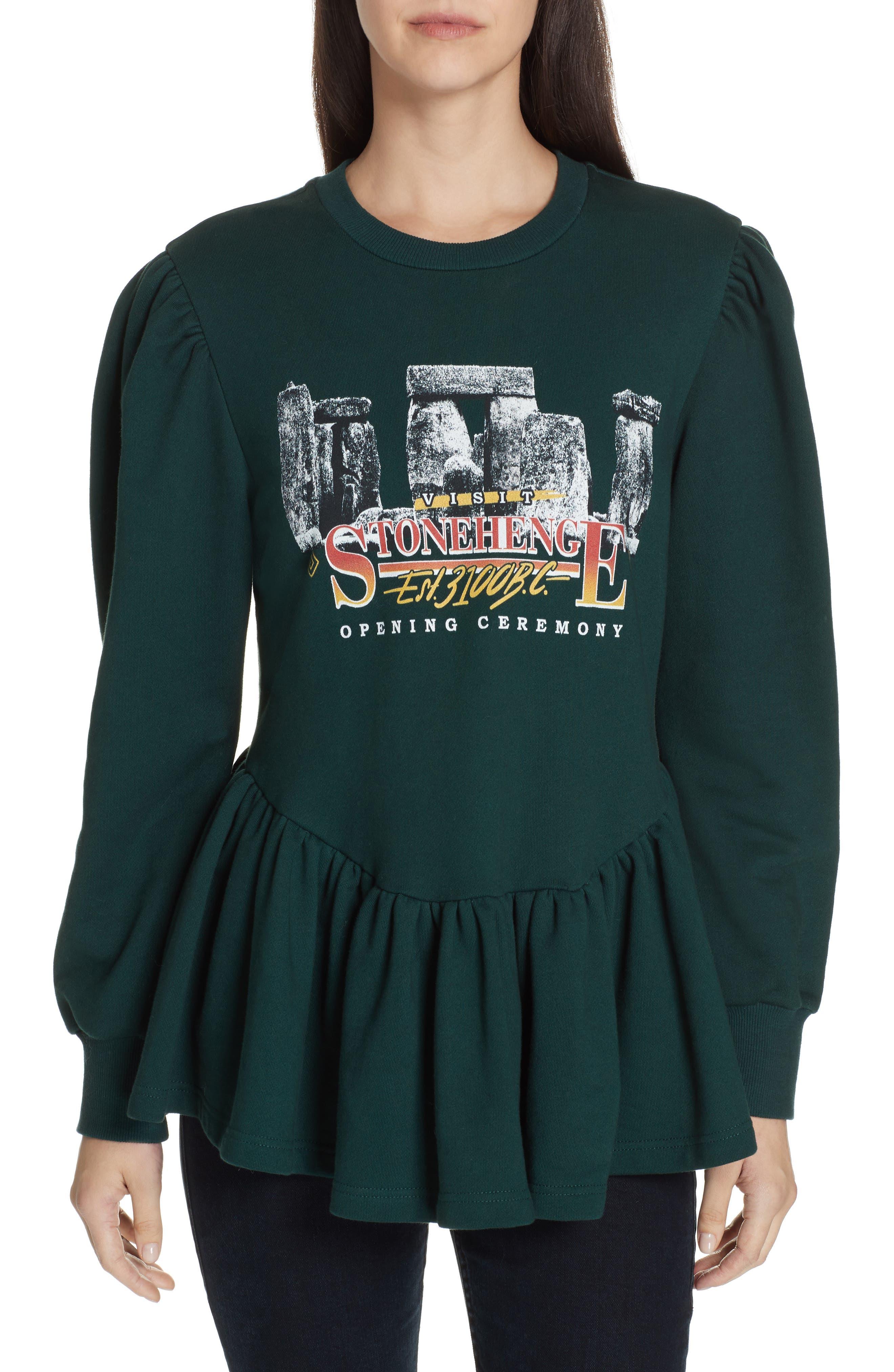 Stonehenge Graphic Peplum Sweatshirt, Main, color, SALEM