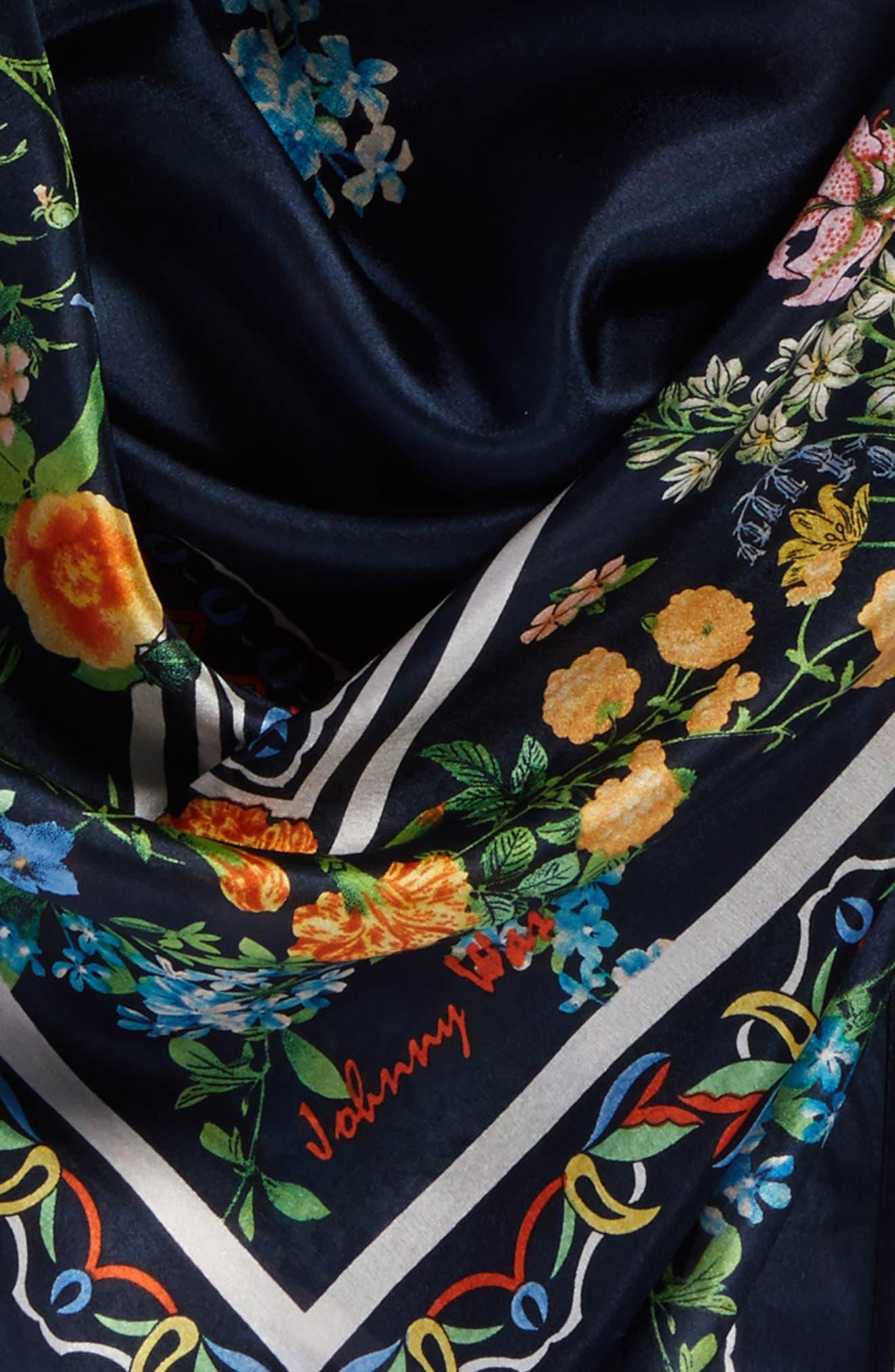 Romantico Tassel Trim Silk Scarf,                             Alternate thumbnail 4, color,                             010