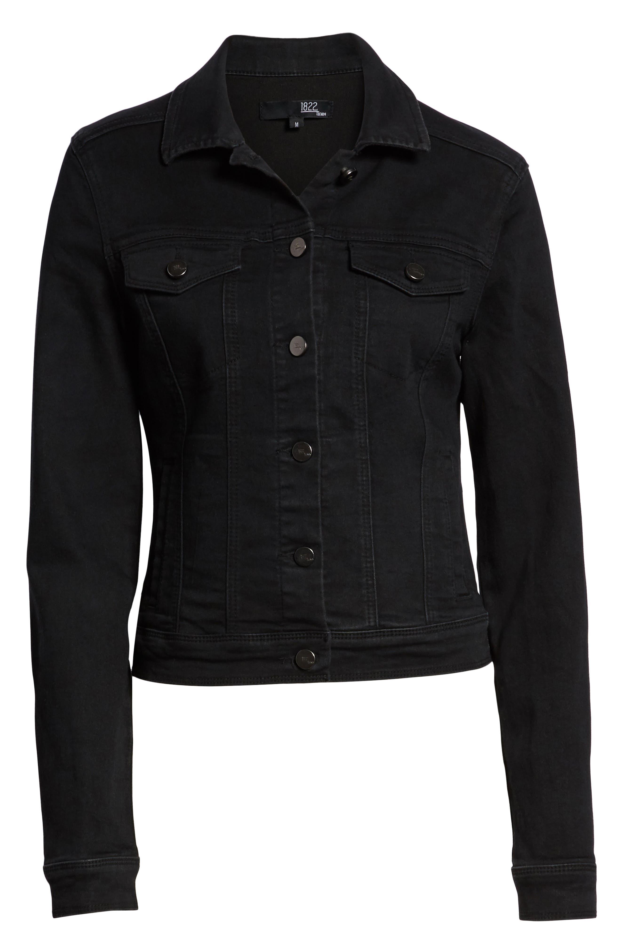 Contour Denim Jacket,                             Alternate thumbnail 6, color,                             BLACK