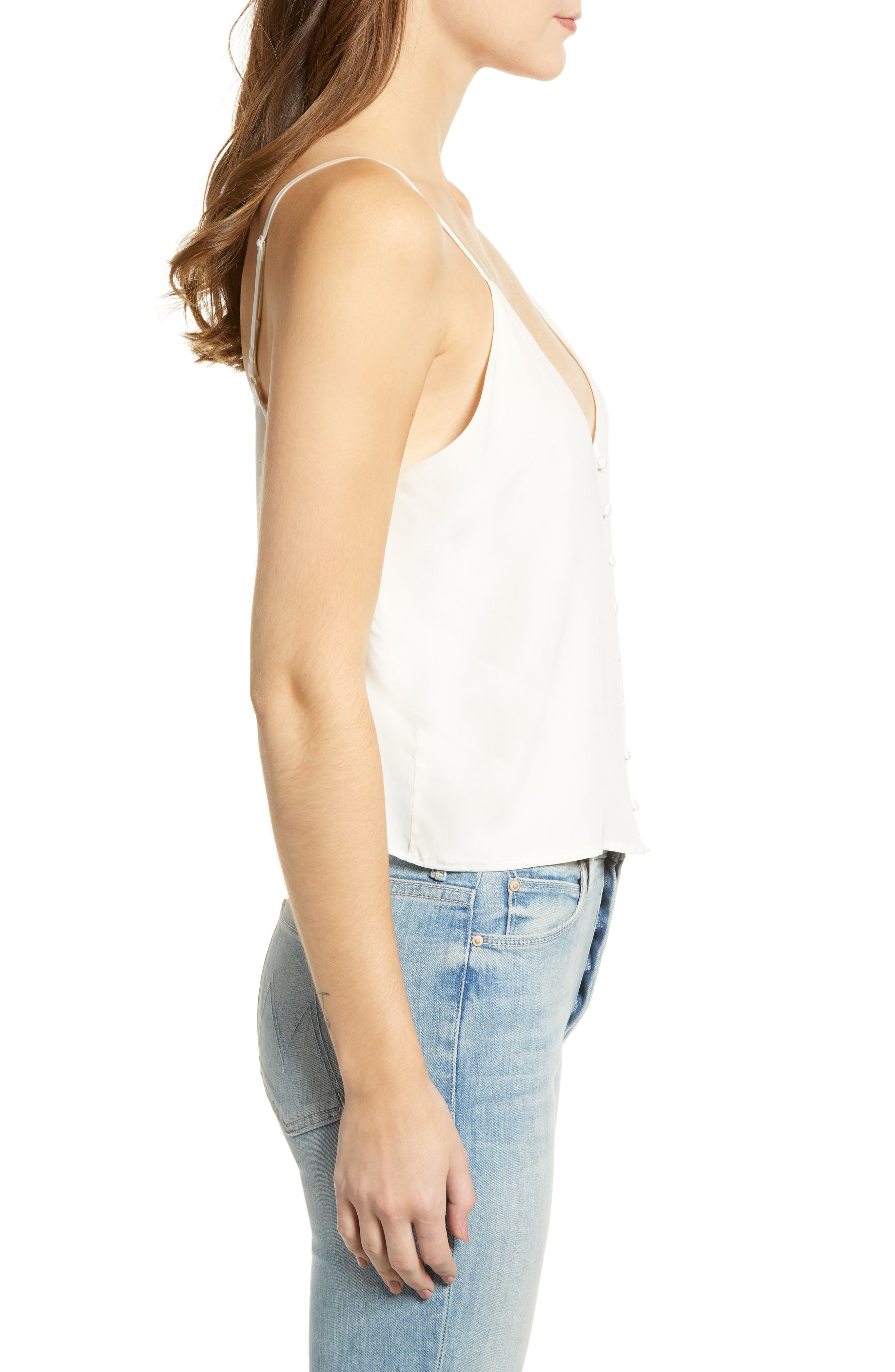 Aubry Silk Camisole,                             Alternate thumbnail 3, color,                             IVORY