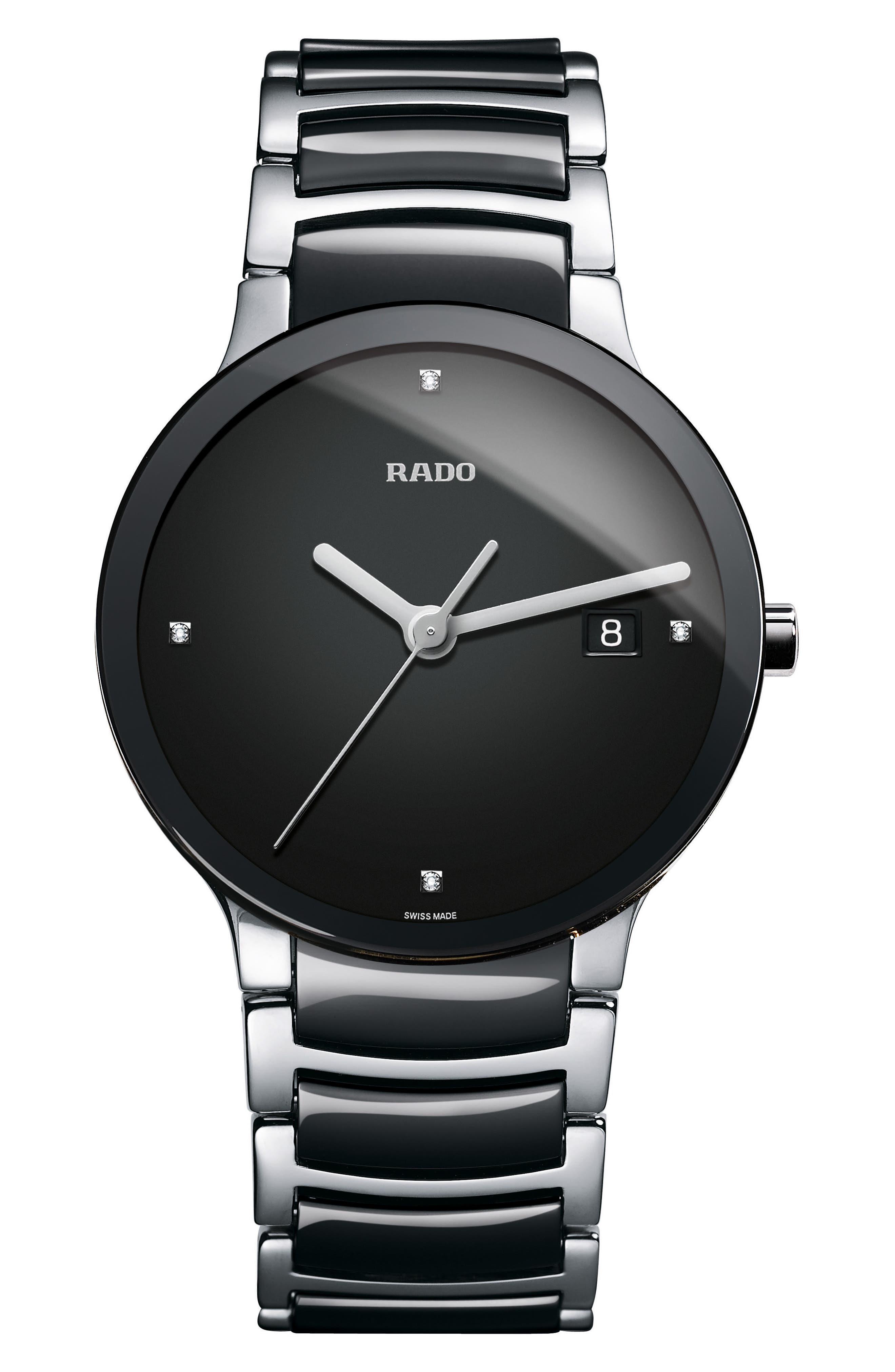 Centrix Diamond Bracelet Watch, 38mm,                             Main thumbnail 1, color,                             SILVER/ BLACK