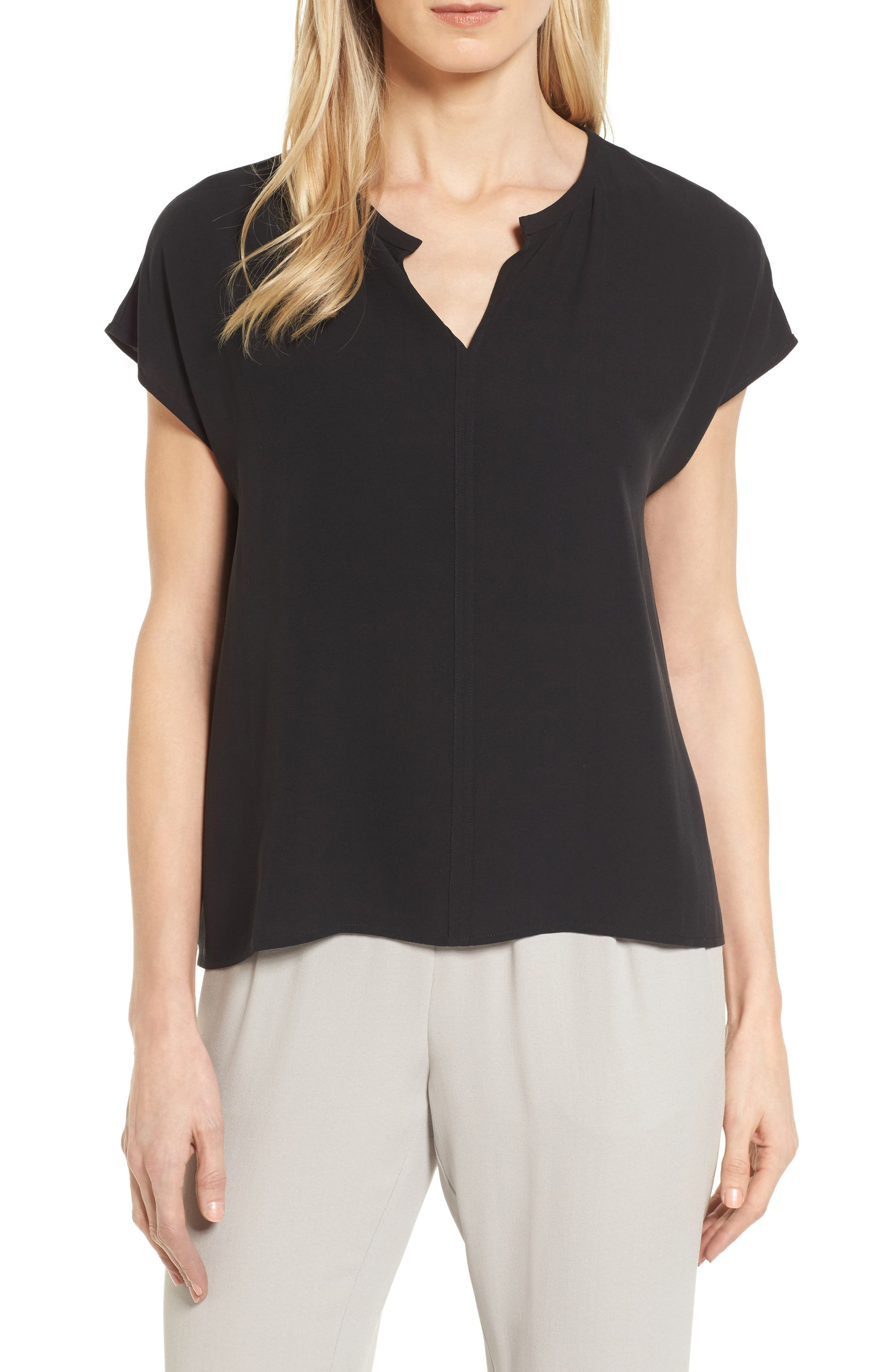 Split Neck Silk Shirt,                         Main,                         color,