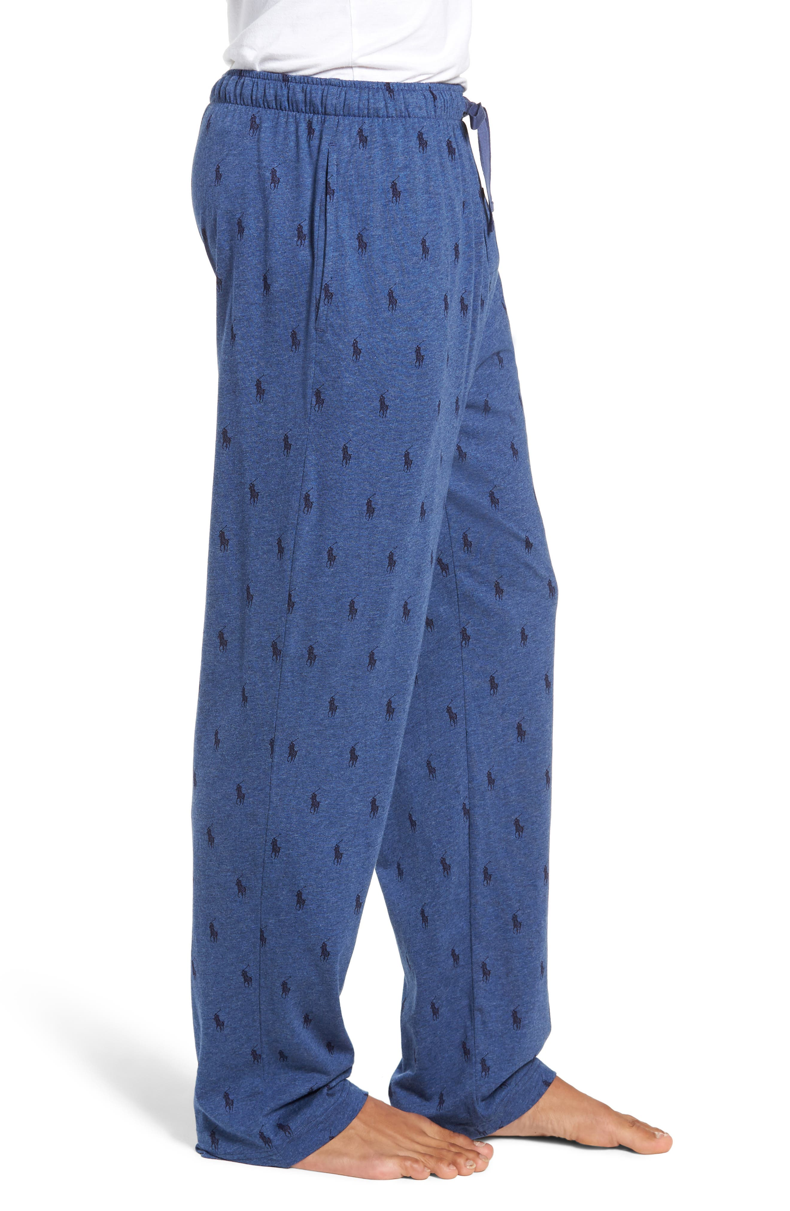 All Over Pony Lounge Pants,                             Alternate thumbnail 3, color,                             BLUE HEATHER/ CRUISE NAVY